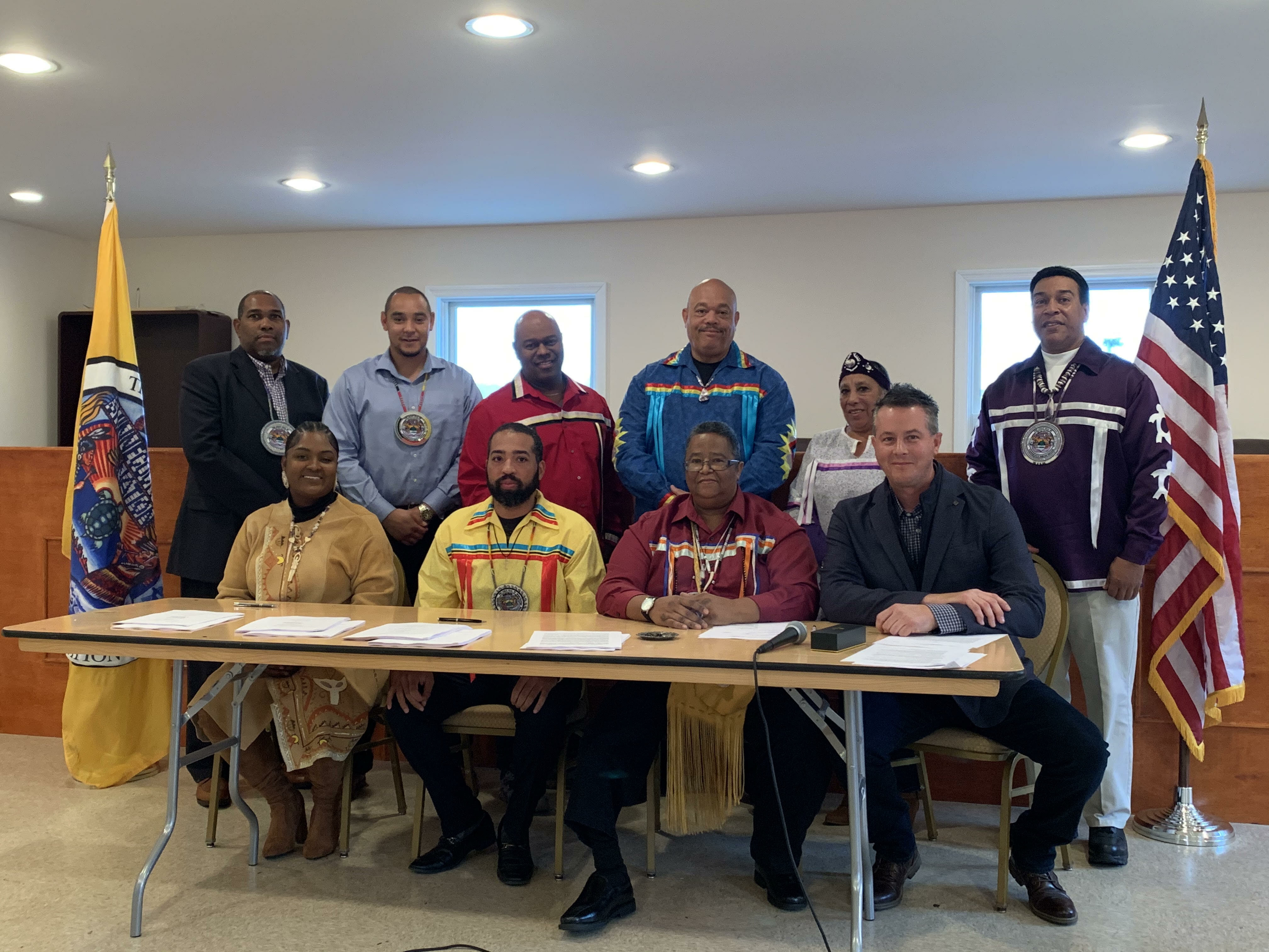 The Shinnecock Nation Council of Trustees signing ceremony initiating the cannabis dispensary project.