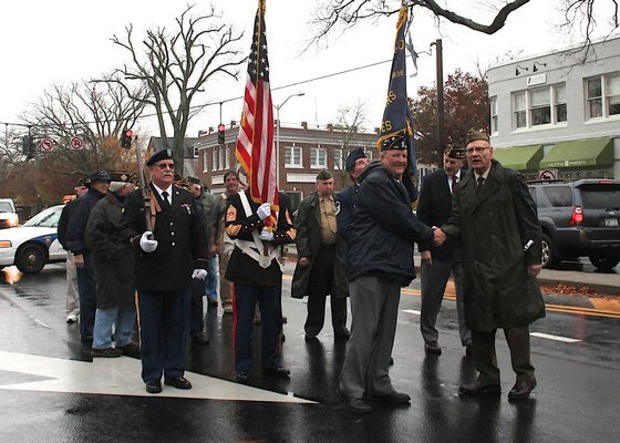The annual East Hampton Village Veterans Day Parade took place in a steady rain on Wednesday. KYRIL BROMLEY