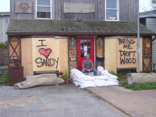 Jason Biondo at Antique Lumber Company in Montauk on Saturday. VIRGINIA GARRISON