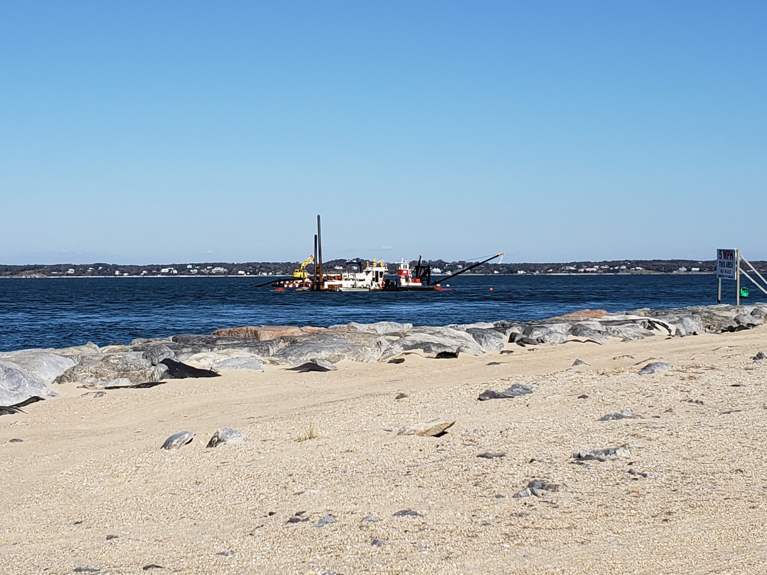 Southampton Town Supervisor Jay Schneiderman said this week that the Suffolk County dredge damaged the underwater water main in Shinnecock Bay.