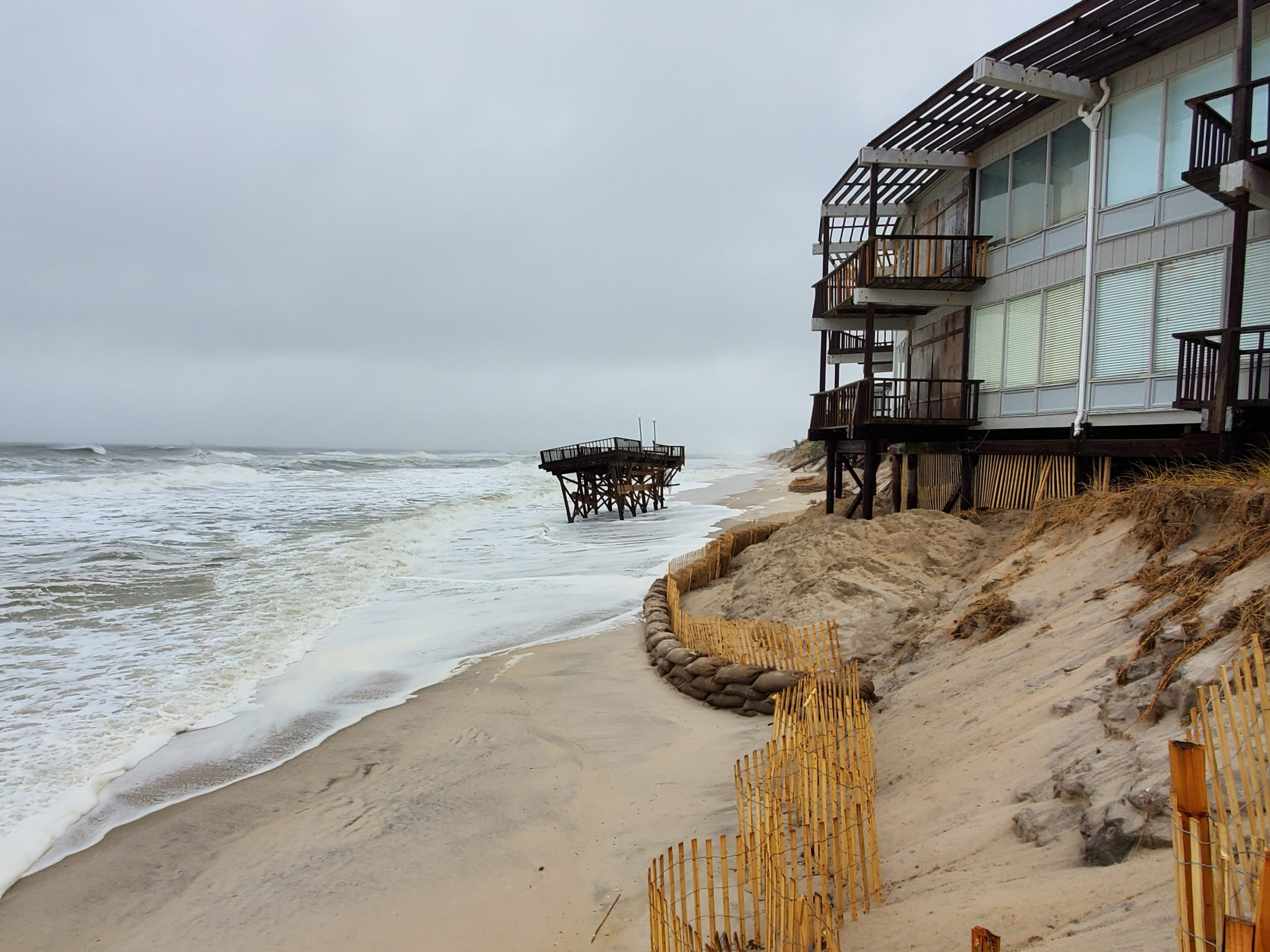 Beach erosion has jeopardized the stability of Round Dune in East Quogue. COURTESY FIRST COASTAL