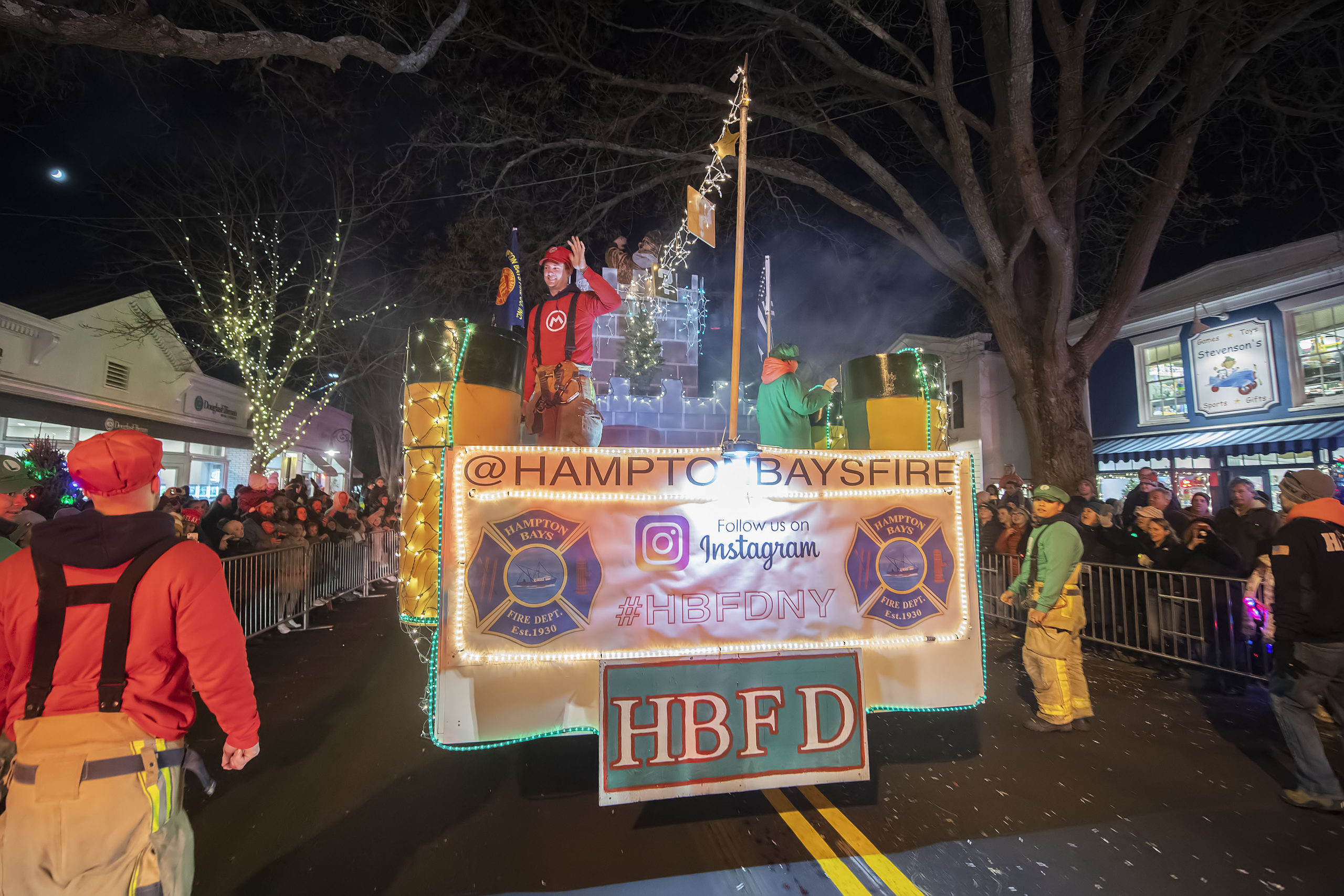 The Hampton Bays Fire Department used a Mario Brothers theme during the 2019