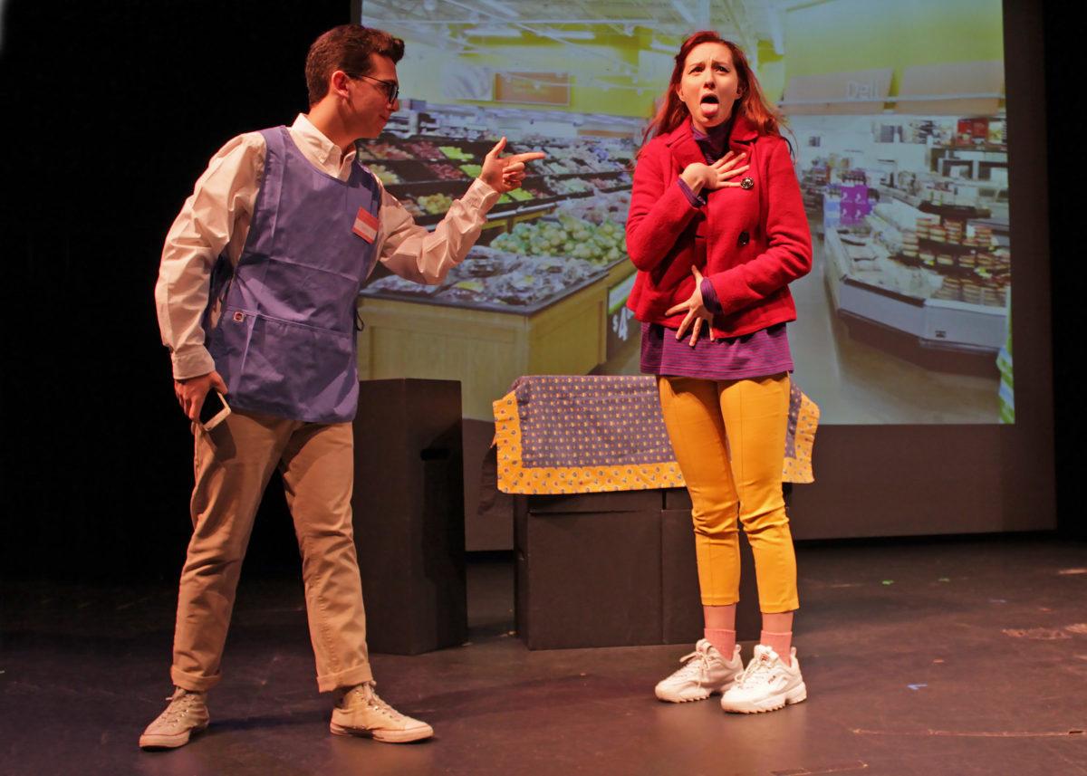 Pierson High School students Yanni Bitis and Lola Lama in the 2018 High School Playwrights performance of Hudson Galardi-Troy's play