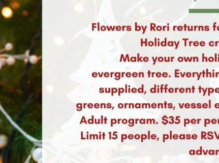 Quogue Library Adults: Holiday Tree Design with Flowers by Rori