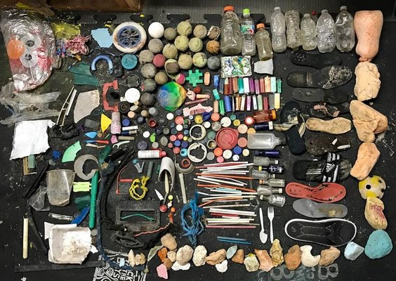 An assortment of debris found along Roanoke Avenue beach in Riverhead. COURTESY CAROLYN MUNACO