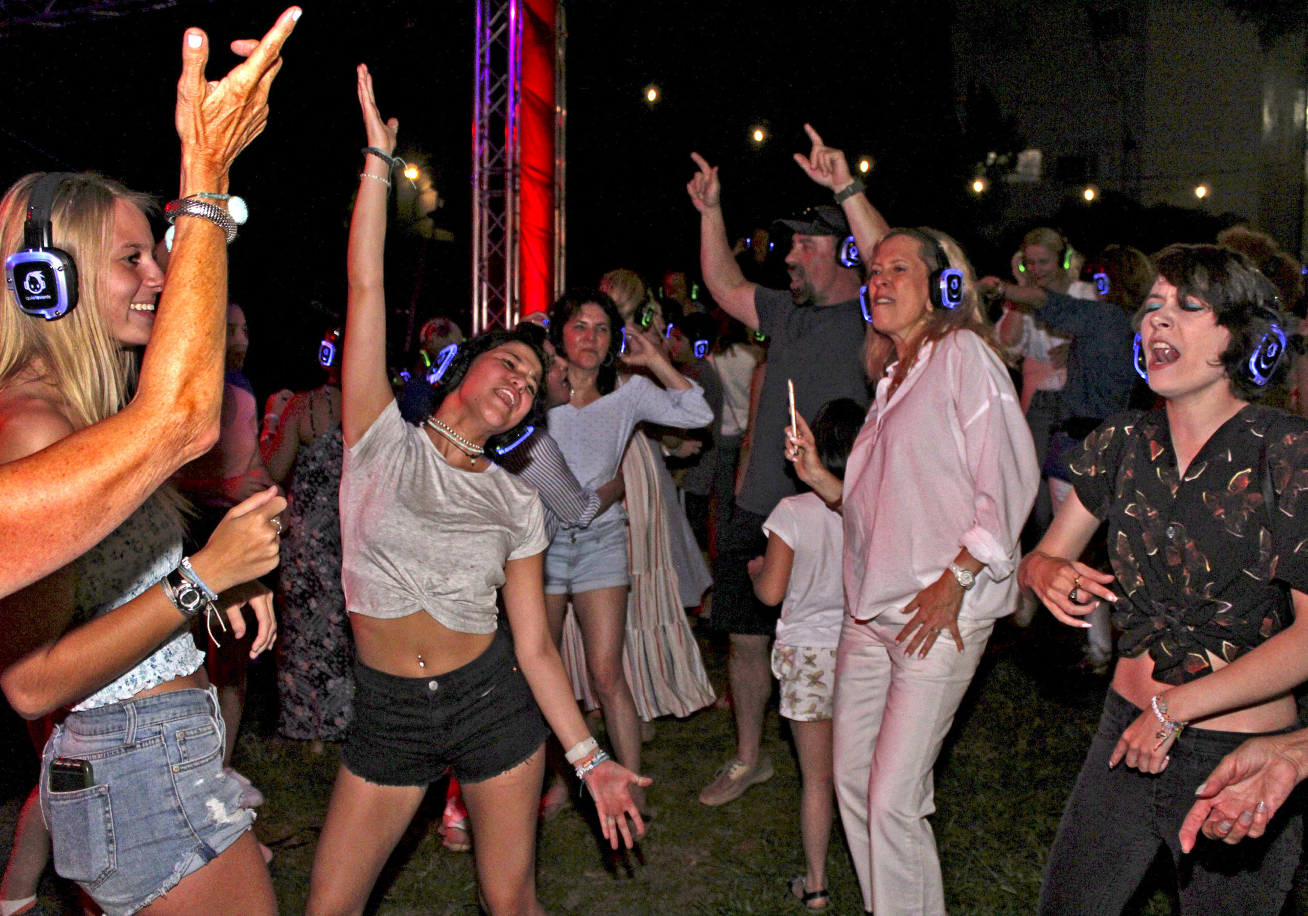 "Shhhh! It's A Party! August 15 -- The Southampton Arts Center hosted a ""Silent Disco Outdoor Dance Party"" on Saturday night — everyone attending donned headphones and moved to their own beat without disturbing the neighbors."