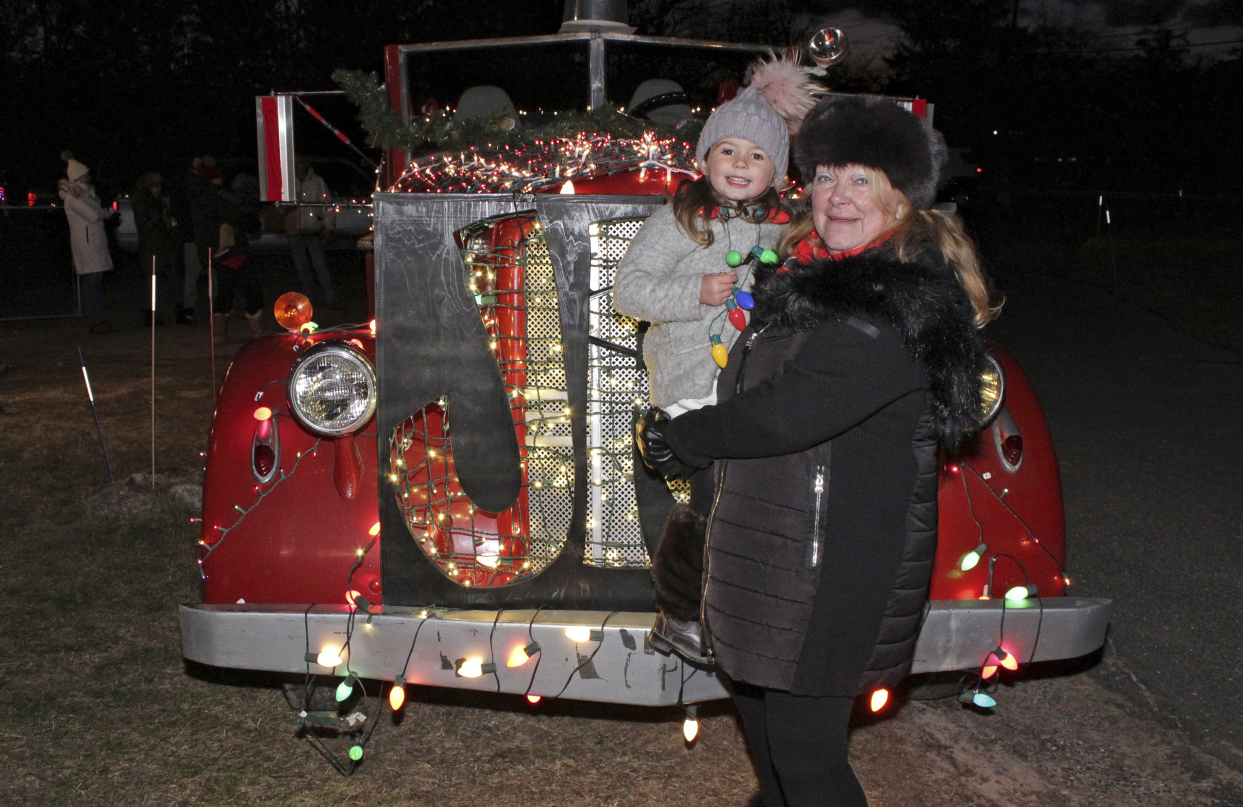 Eliza Strong and Carol Lee Griffin at the tree lighting.