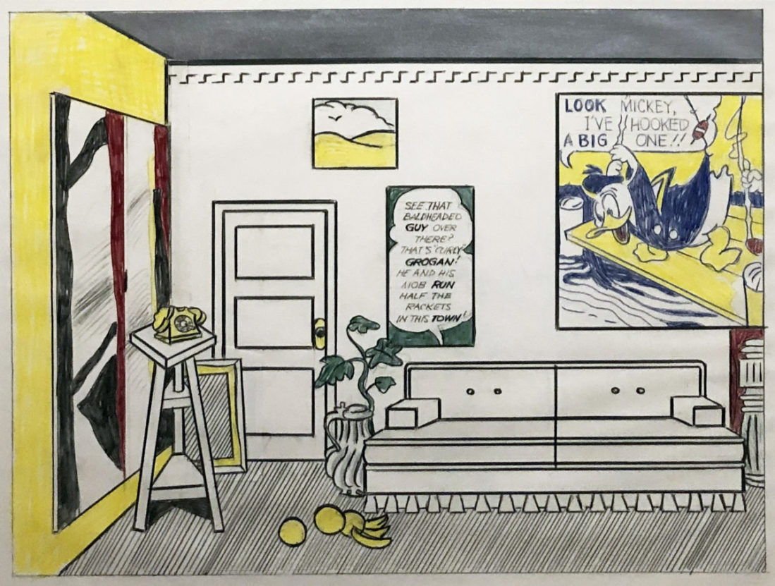 """Roy Lichtenstein, """"Artist's Studio 'Look Mickey' (Study),"""" 1973. Colored pencil, graphite, acrylic and collage, sheet 17 x 22 ½ in. Whitney Museum of American Art, New York. The Roy Lichtenstein Study Collection, gift of the Roy Lichtenstein Foundation. © Estate of Roy Lichtenstein."""
