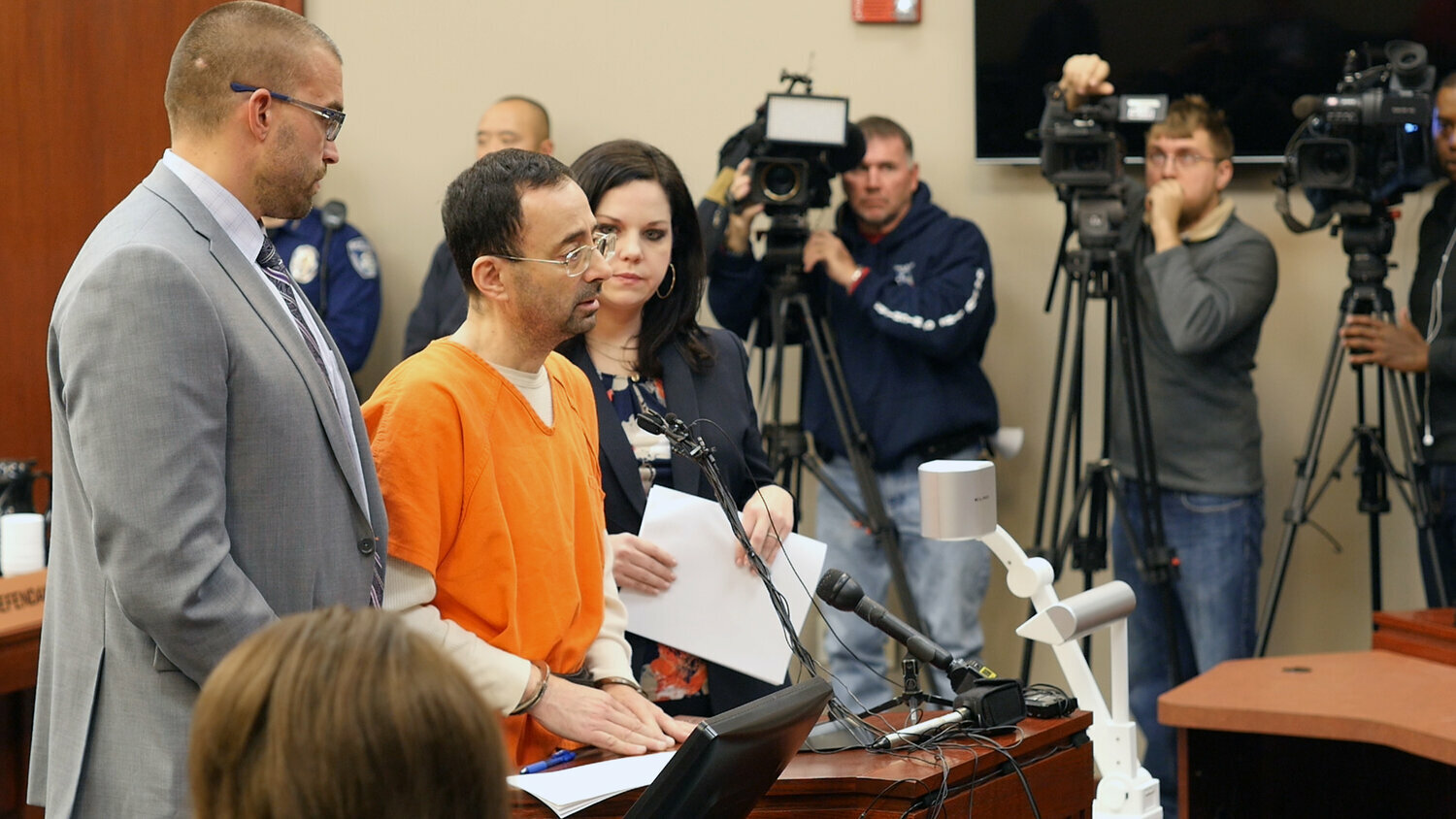 "Dr. Larry Nassar in the courtroom in a scene from the documentary ""At The Heart of Gold: Inside the USA Gymnastics Scandal."""