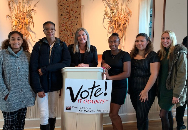 Bridgehampton School students, from left, Alanah Johnson, Gylia Dryden, guidance counselor Danielle Doscher, students Jaden Campbell, Melissa Villa and Olivia Cassone recently attended the League of Women Voters