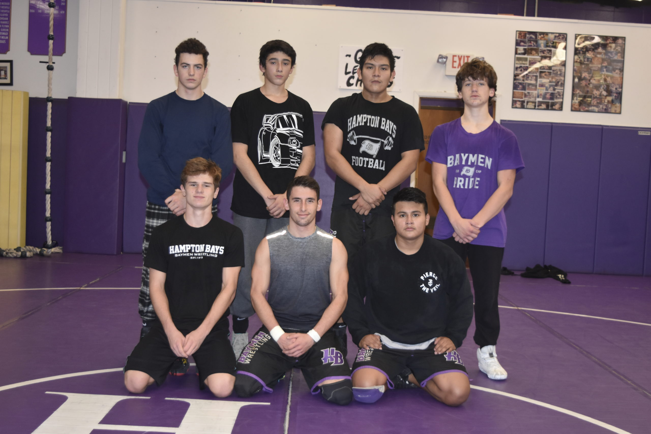 Some returning Baymen wrestlers this season include, from top left, Logan Grismer, Sebastian Valenzia, Erubiel Ramos, from bottom left, River Orlando, Nick Pacheco and Alex Velasquez.