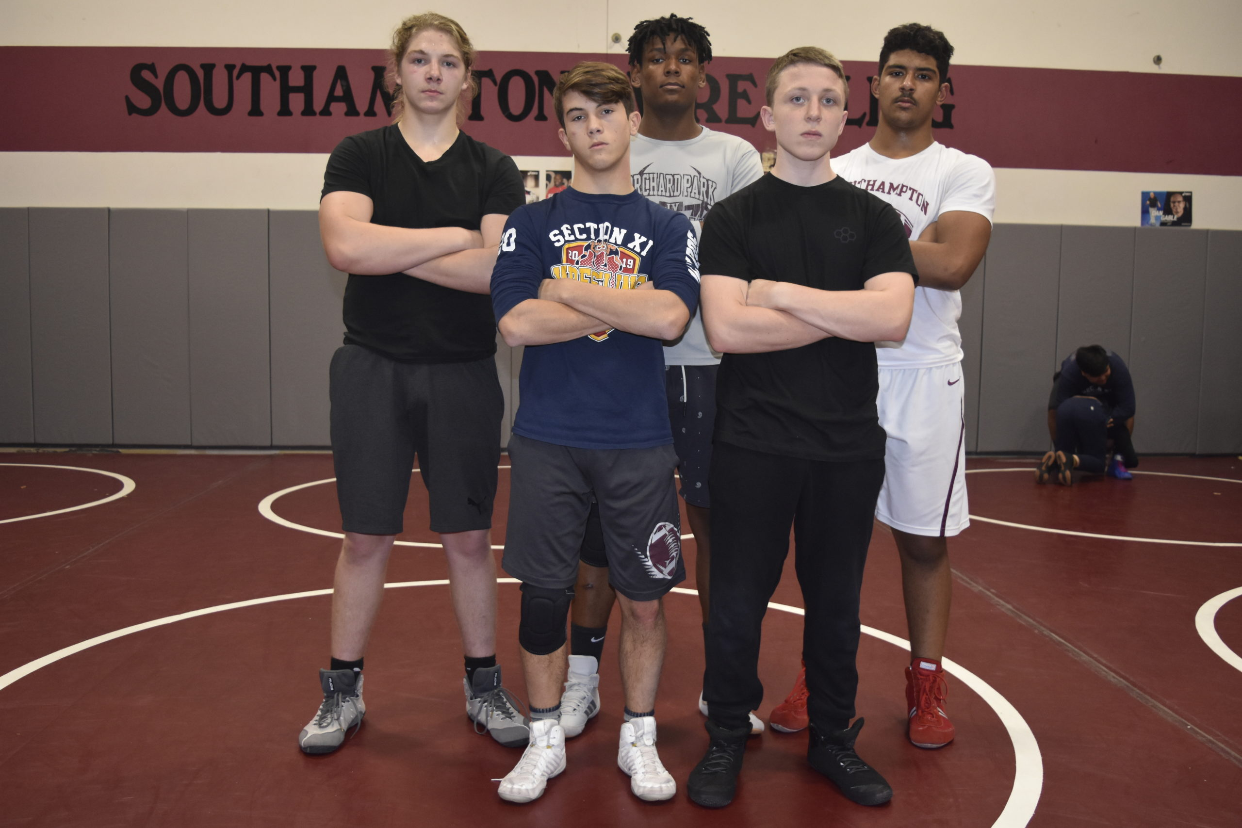 Key returning wrestlers for the Mariners this season include, from top left, Bradley Bockhaus, Ben Brown, Zayden Michel, and from bottom left, Alex Boyd and Riley Lenahan.