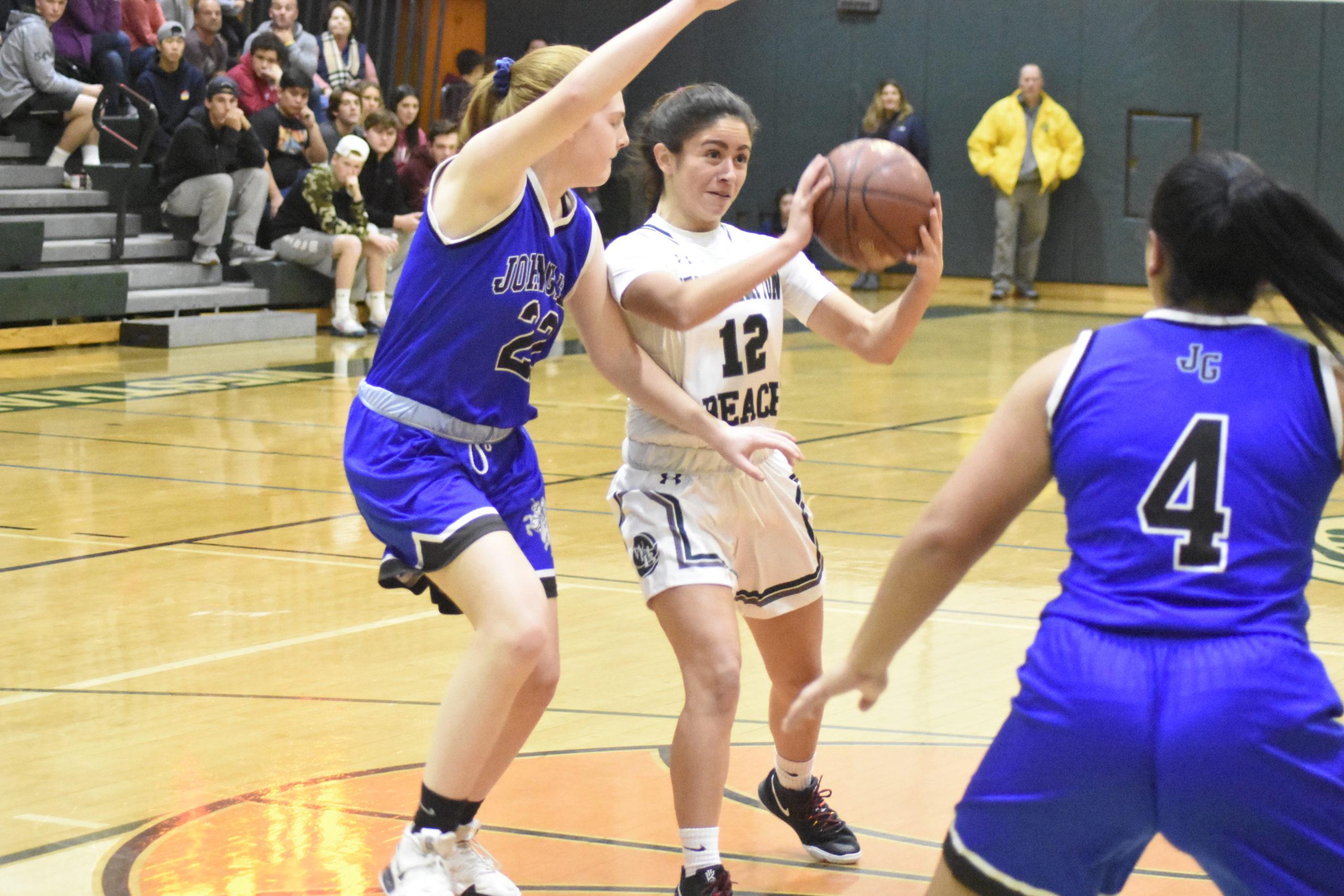 Westhampton Beach junior Amanda White passes the ball.