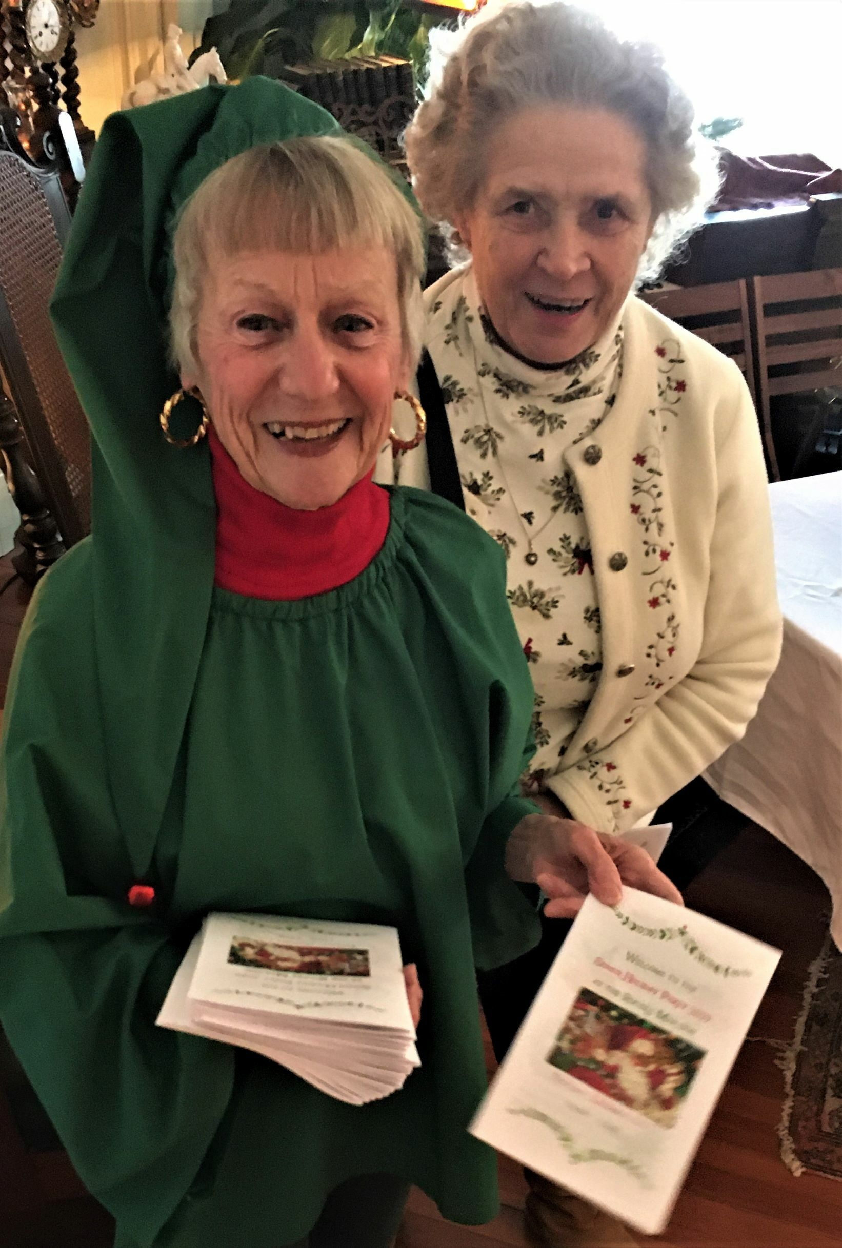 Southampton Village hosted a Senior Holiday Party at the Southampton History Museum's Rogers Mansion on December 12. Barbara Albecht and Betty Arnister were there spreading Christmas cheer.