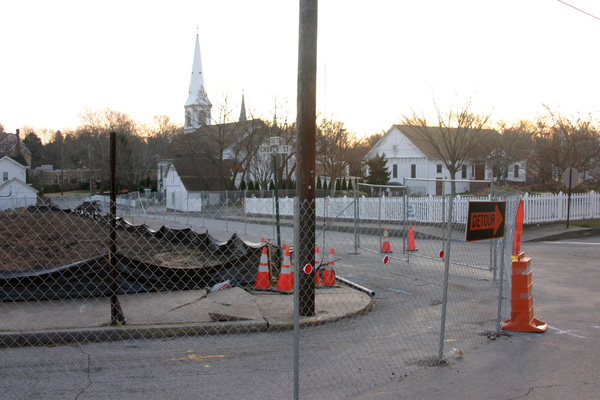 The intersection of Church Street and Sage Street where the townhouse structures will be built.