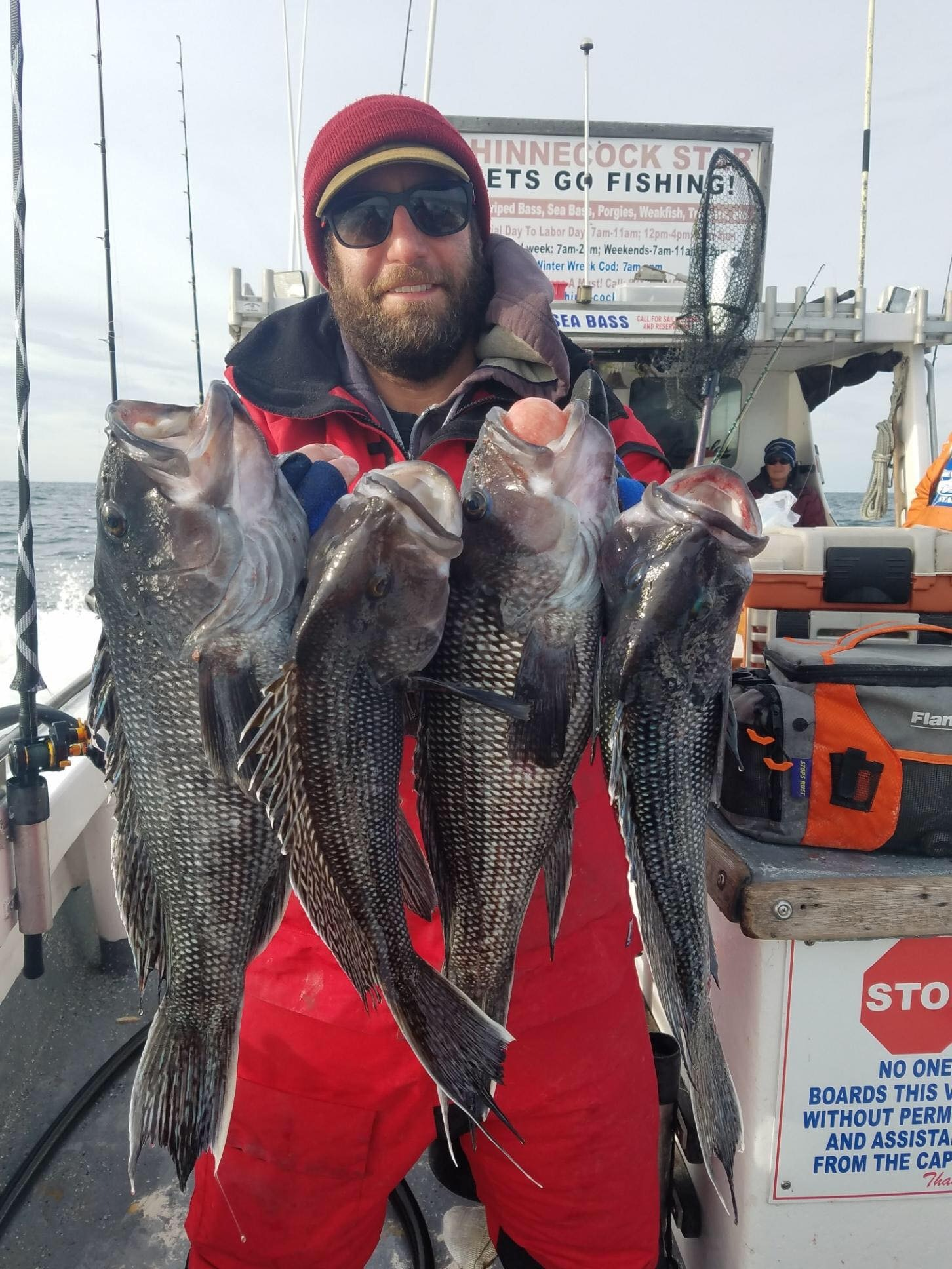 Peter Eilenberg of Hampton Bays with a brace of big black sea bass caught over the weekend aboard the Shinnecock Star out of Hampton Bays. Sea bass fishing will remain good through the end of the year whenever the weather allows boats to get out.