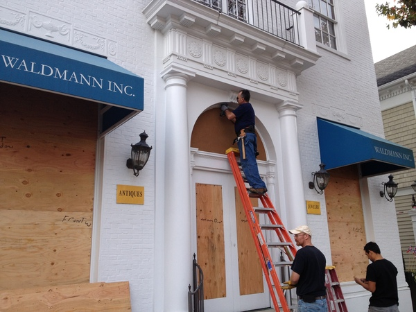 Preparing for Sandy at Waldmann Inc. Jewelry in Southampton Village. DANA SHAW
