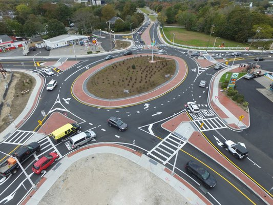 The completed Riveside Traffic Circle on Monday afternoon.