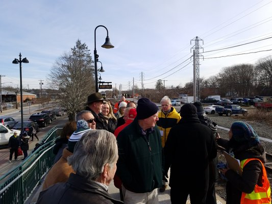 Representatives of the Long Island Rail Road appeared with state and local leaders at the Hampton Bays train station in early February to announce March 4 as the official start date of the South Fork Commuter Connection.   GREG WEHNER