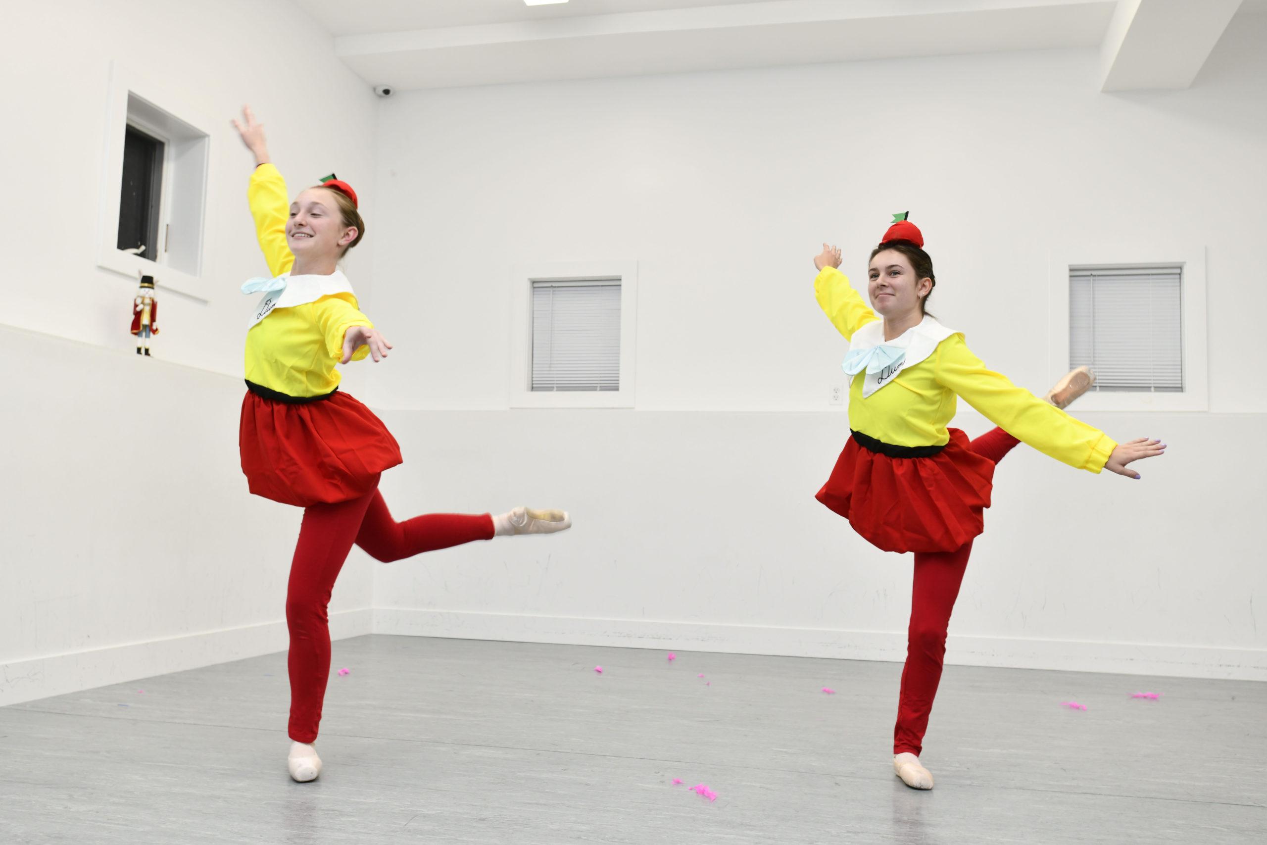 Jacqueline Gluck and Brooke Bierfriend as Tweedle Dum and Tweedle Dee during rehearsal Studio 3 production,