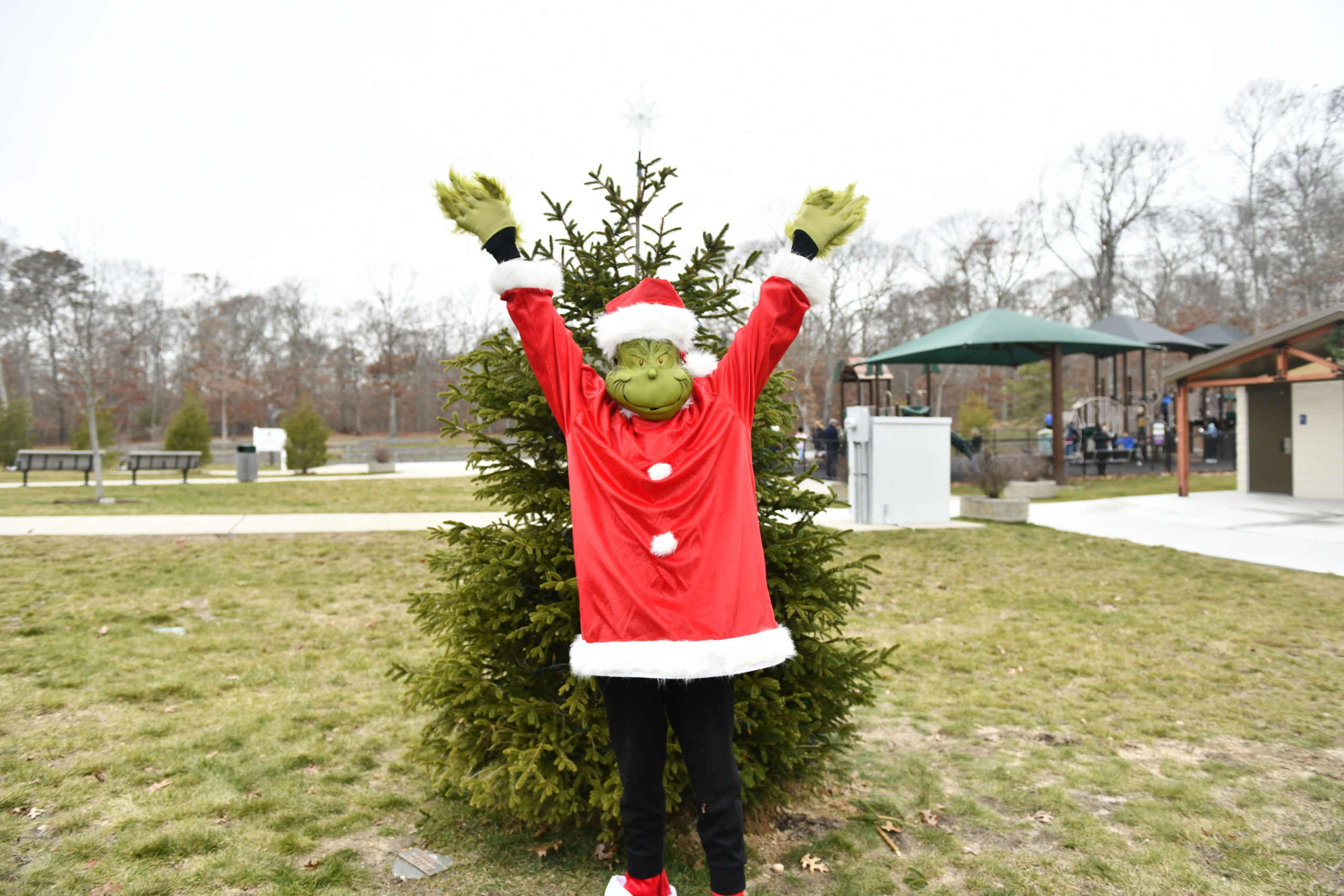 Festivities were cut short due to the rain but that didn't stop the Grinch, the Dickens Carolers and visitors from singing a quick carol and lighting the tree at Good Ground park in Hampton Bays on Friday.  DANA SHAW