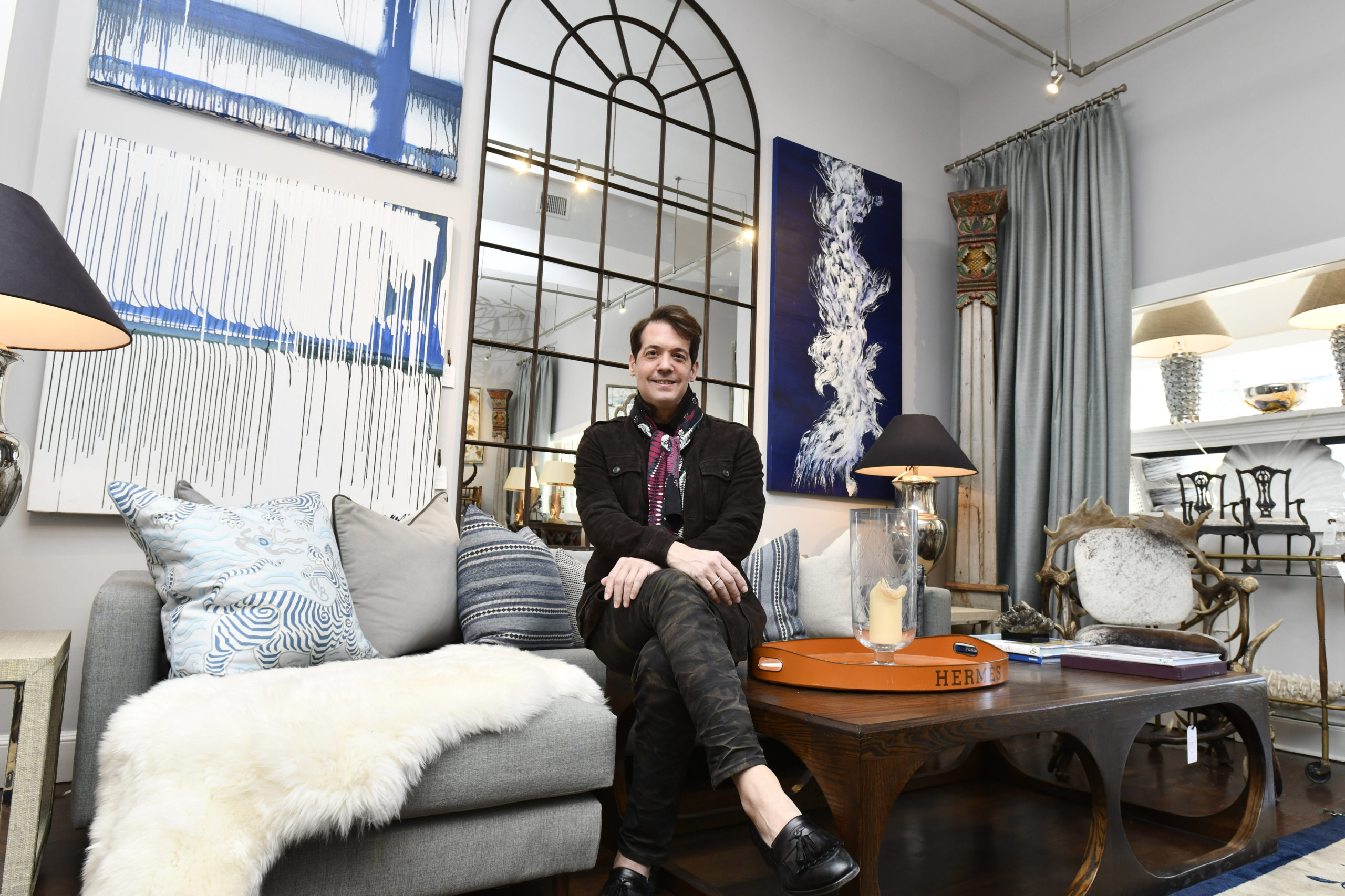 March 7 -- Old Town Crossing proprietor Sean Bruns at the interior design firm's new location on Hampton Road in Southampton Village. When Old Town W Crossing, a preeminent Southampton interior design firm, opened in 1978, it enjoyed one of the perks of a bygone Hamptons era: exceptional foot traffic. Perched, at the time, on Main Street, and visible to all manner of passersby, the showroom attracted a steady influx of customers, cementing the business as a Southampton stalwart. But, five years ago, when general manager and designer Sean Bruns took over as proprietor of the business, Old Town Crossing relocated to its warehouse on Mariner Drive.