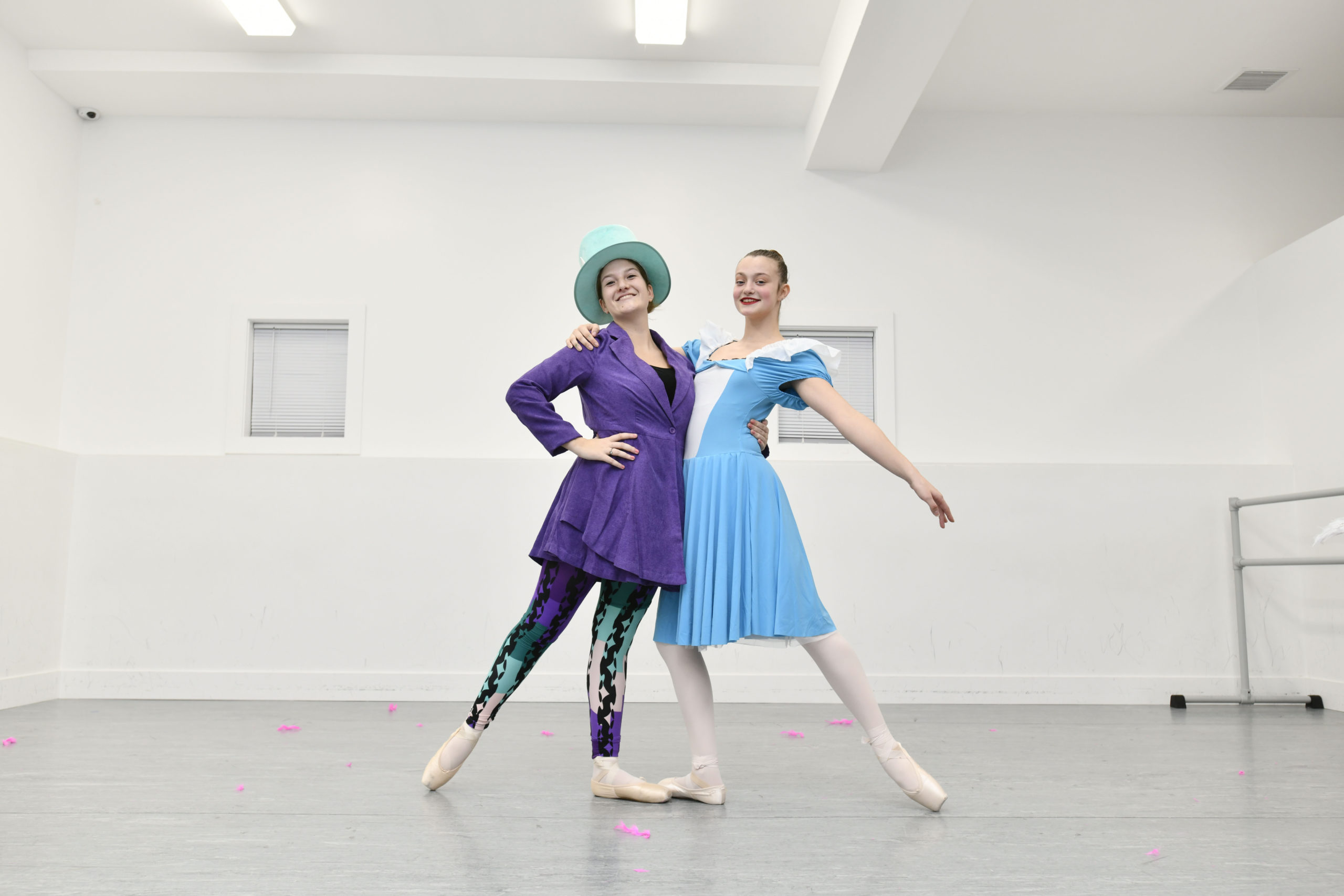 Kelly Seitz as The Mad Hatter and Mya Davis as Alice in the Studio 3 production,