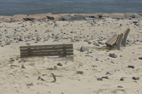 Benches near the Shinnecock Inlet were buried from storm.  DANA SHAW