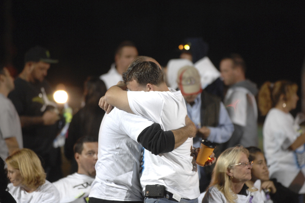 Hundreds gathered at Eastport South Manor High School on Tuesday night for the memorial for Jason and Keri Trinca.  DANA SHAW