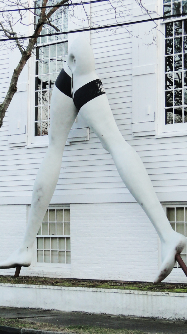 A pair of 16-foot-tall fiberglass legs in Sag Harbor continues to wade through zoning issues.