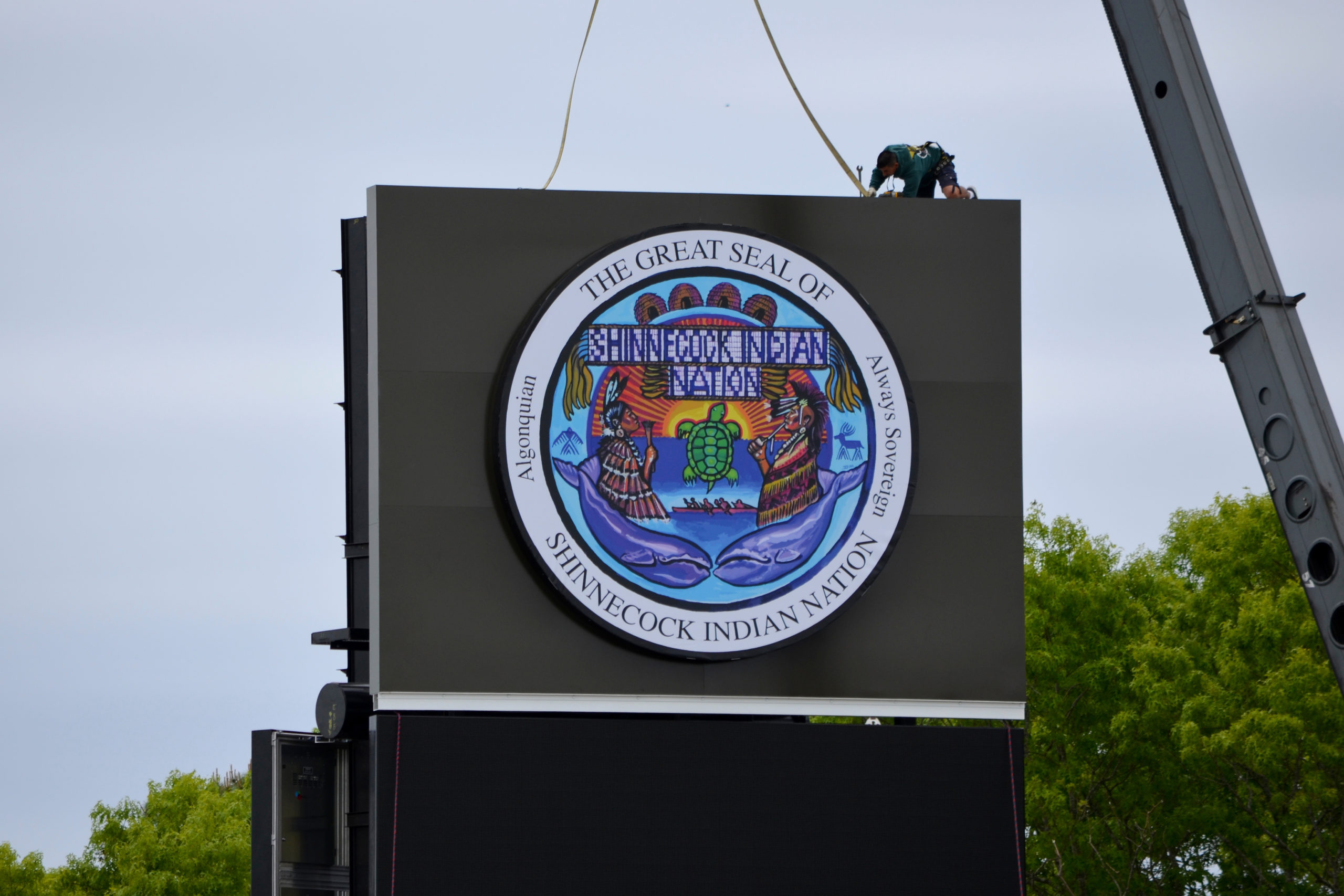 Sign Controversy May 2 - The Shinnecock Indian Nation began constructing two 61-foot-tall electronic billboards at the same site on Sunrise Highway and were sued by the State Department of Transportation for failing to obtain state work permits for the project. Tribal leaders claimed that their federal recognition meant that they did not have to obtain approvals from the state for work done on tribal land. The legal battle continues.
