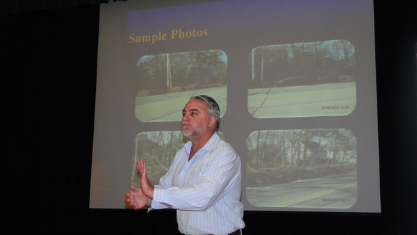 Southampton Town Highway Superintendent Alex Gregor explains changes in the town's leaf pickup program at a forum on Wednesday