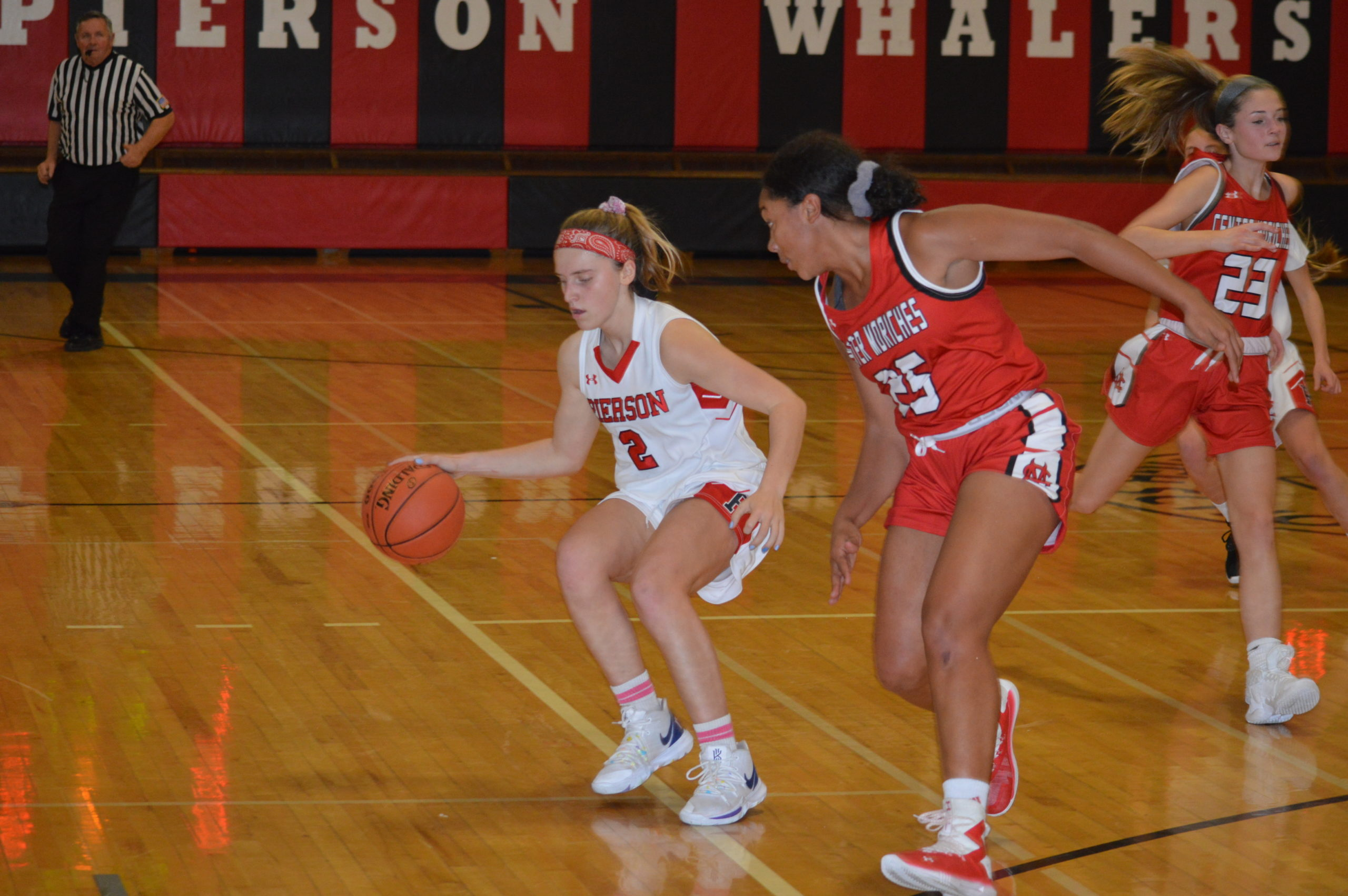 Pierson junior Grace Perello dribbling out of trouble against Center Moriches.