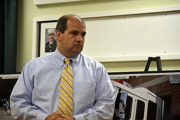 Eric Maisch at last week's fire district meeting. ERIN MCKINLEY