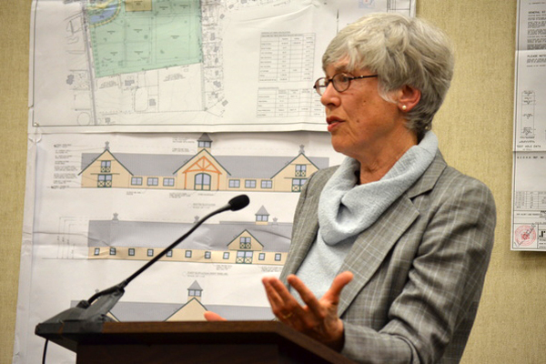 Remsenburg Association President Sally Pope gives her opinion of the Estates at Remsenburg proposal at the Planning Board public hearing last week. ERIN MCKINLEY