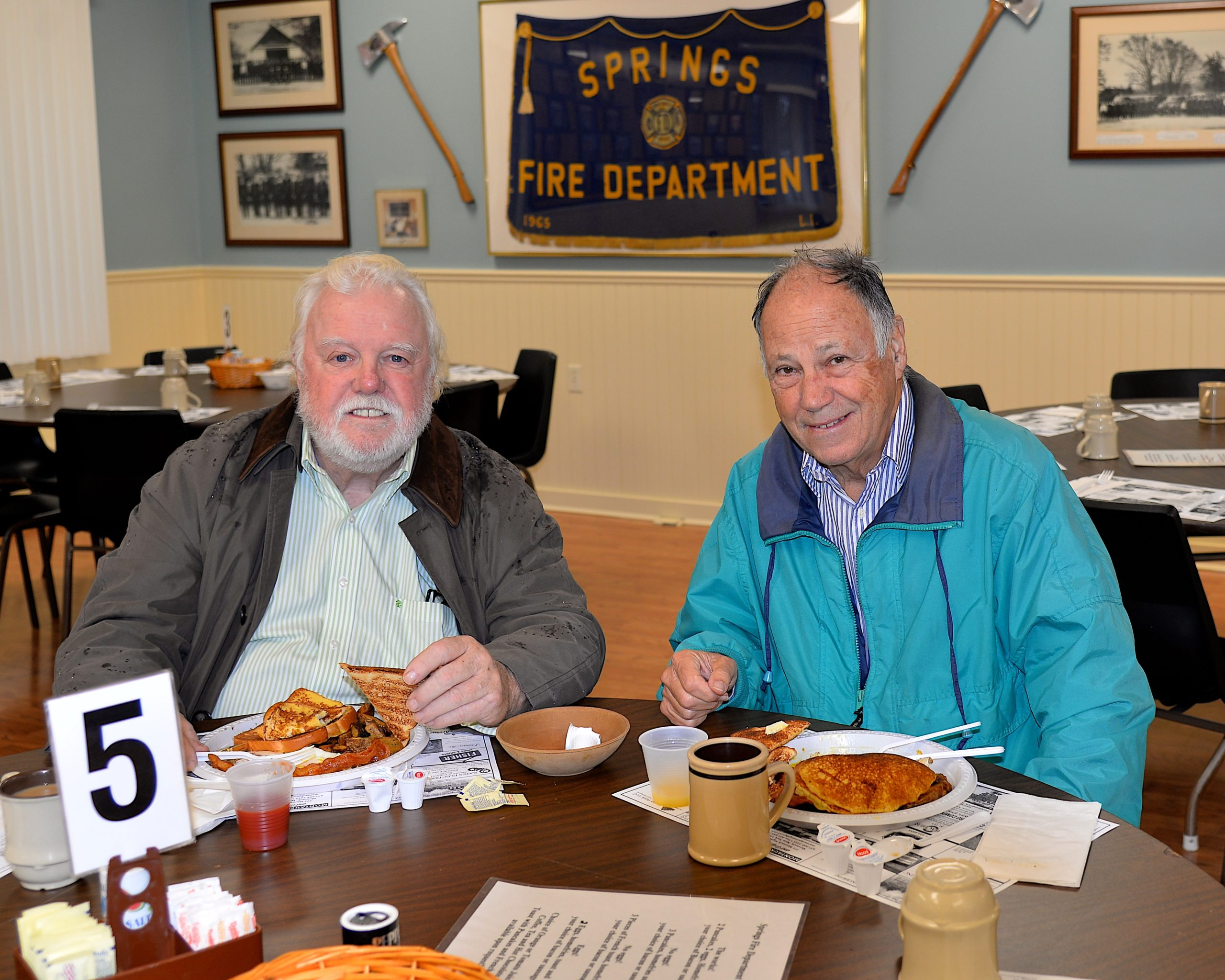 The Springs Fire Department held a pancake breakfast on  Sunday and Russ and Michael Bassett turned out for the fare. KYRIL BROMLEY