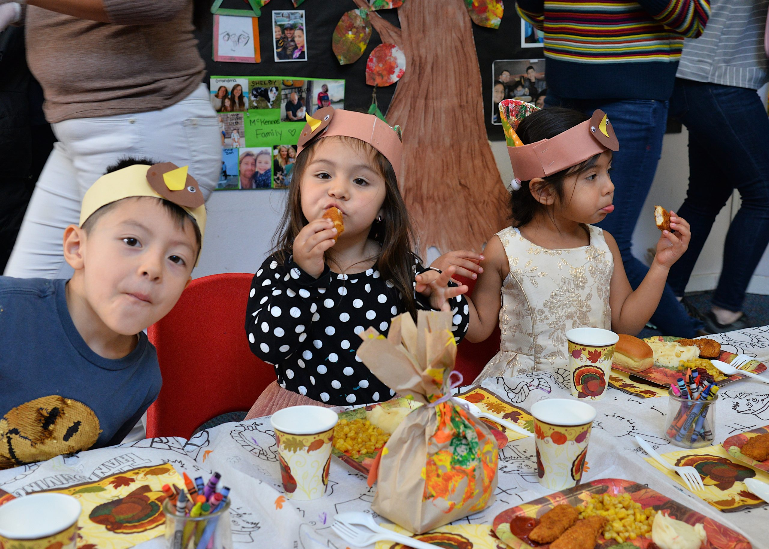 The Eleanor Whitmore Early Childhood Center held a Thanksgiving feast for the children on Monday, with a singing performance to go along with the festive meal. KYRIL BROMLEY