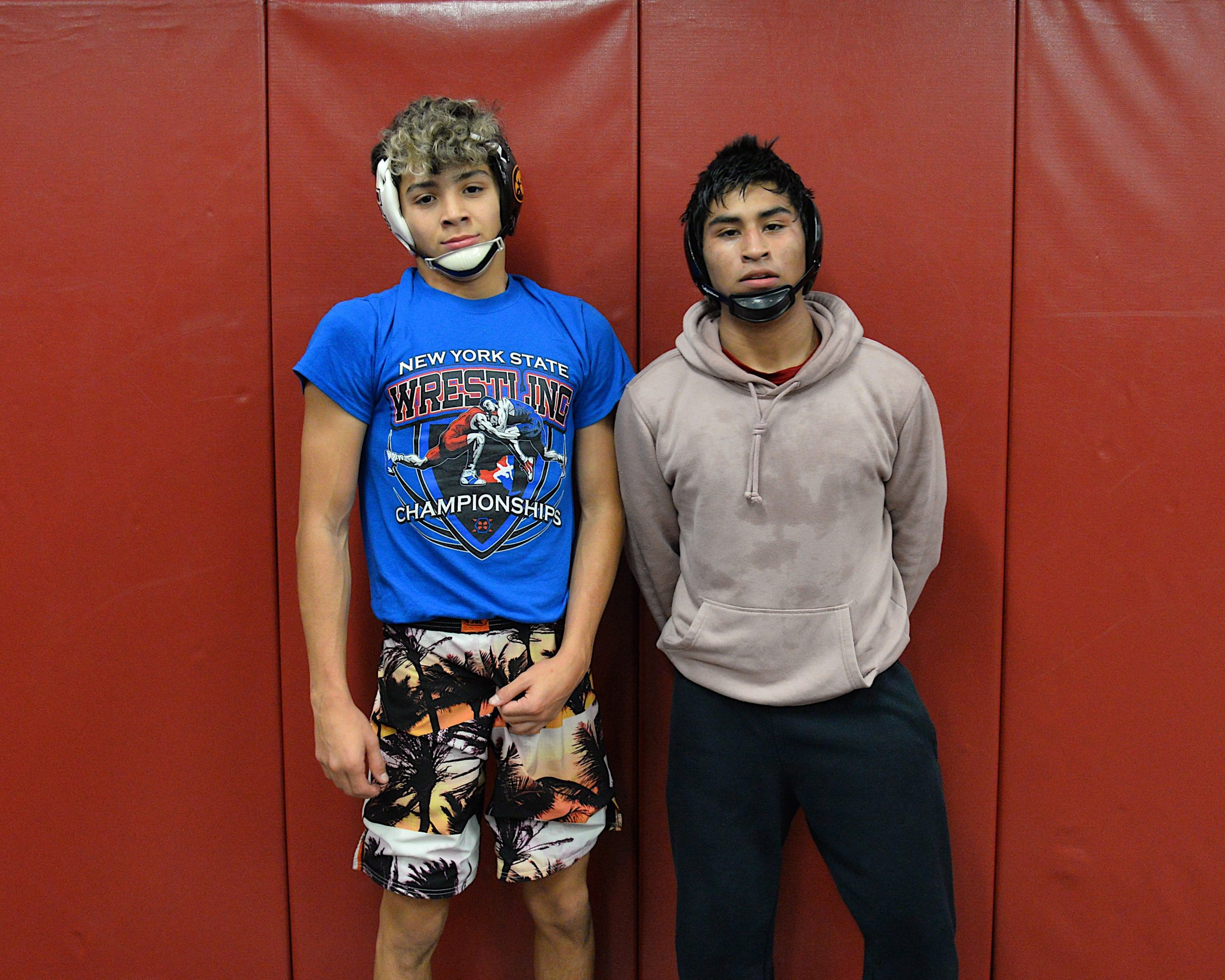 Returning sophomores Santi Maya, left, and Caleb Peralta will lead the Bonac wrestling team once again this season.