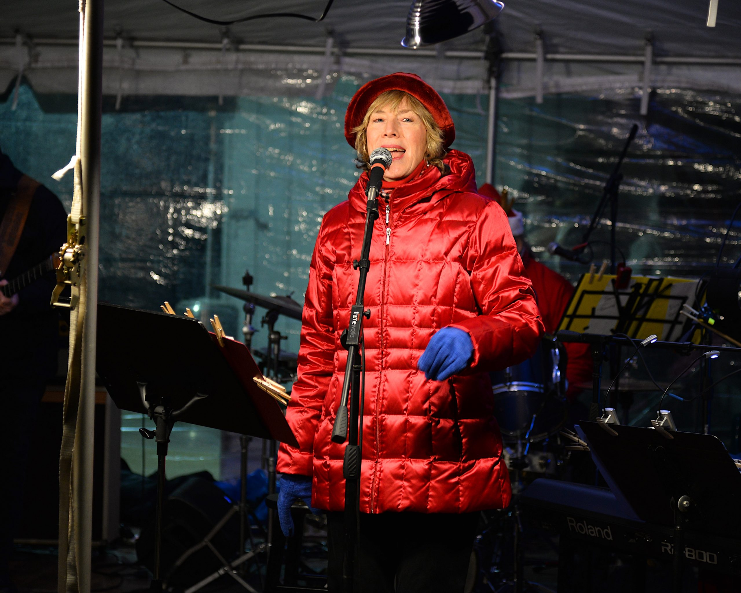 The Montauk Lighthouse was lit for the season on Saturday. Sara Conway and the Playful Souls warmed the crowd with Christmas carols. KYRIL BROMLEY