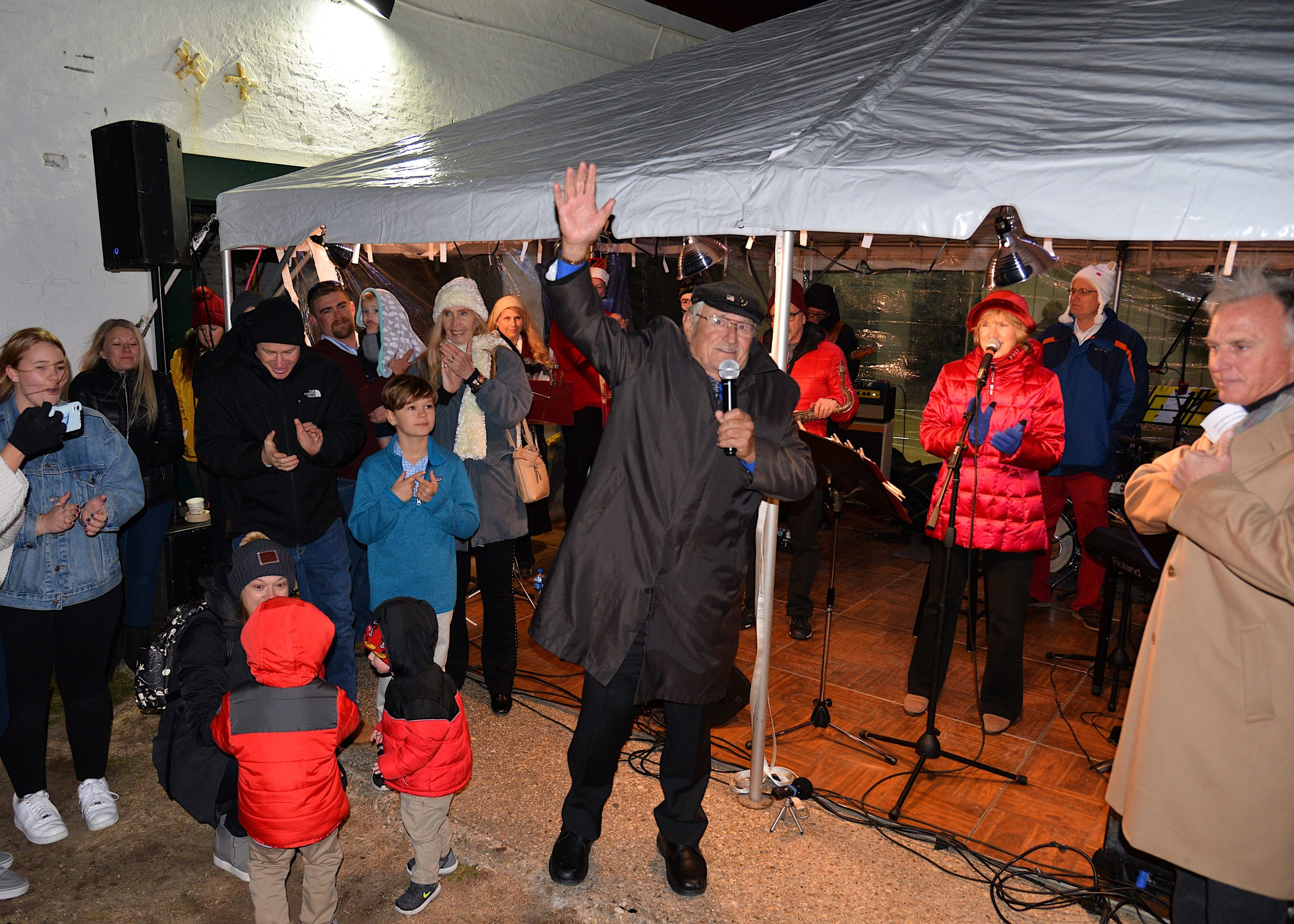 The Montauk Lighthouse was lit for the season on Saturday. CaptAIN Paul Forsberg was among the guests. KYRIL BROMLEY