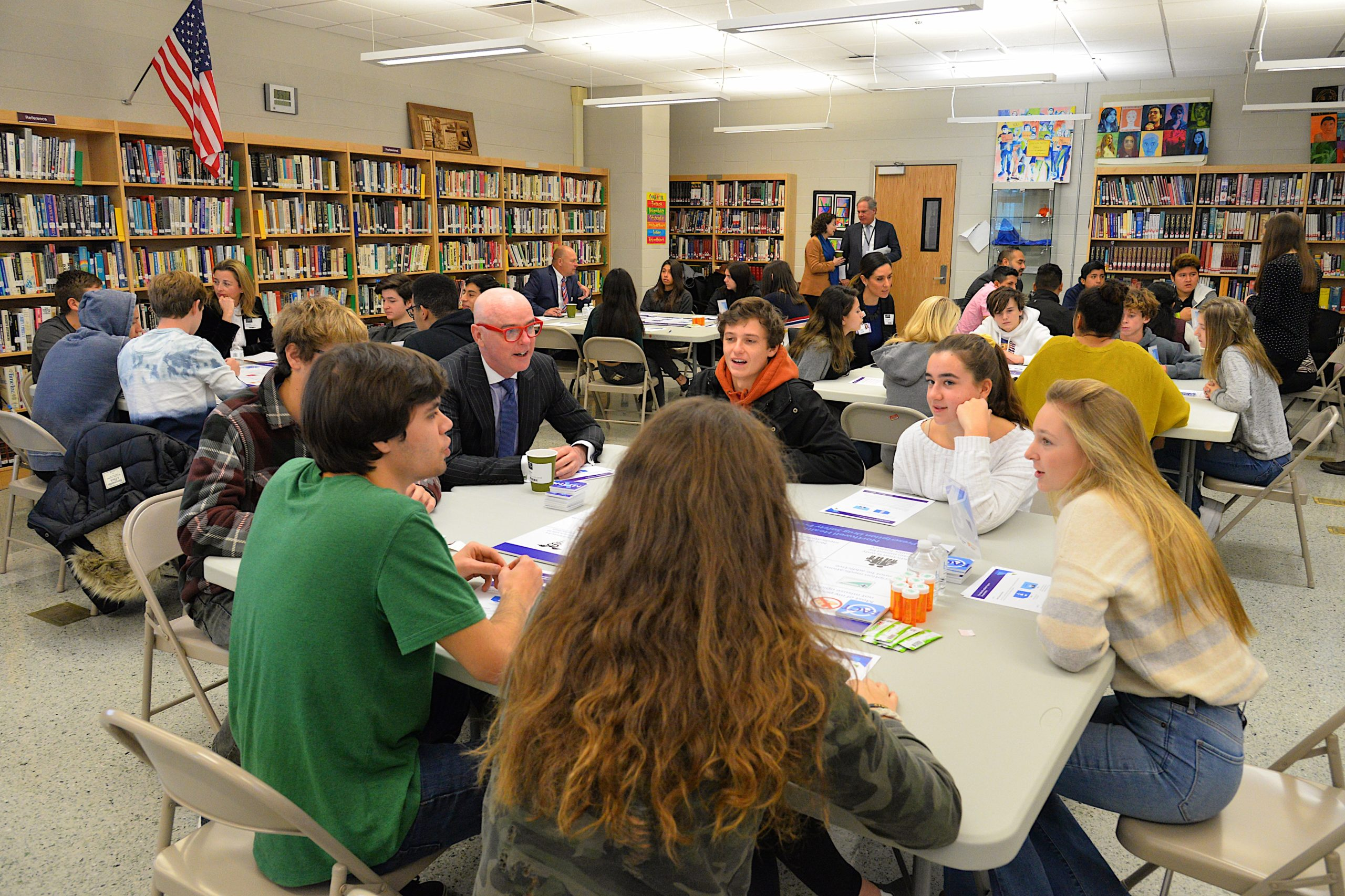Conor O'Brien picks students' brains during a game about prescription drug