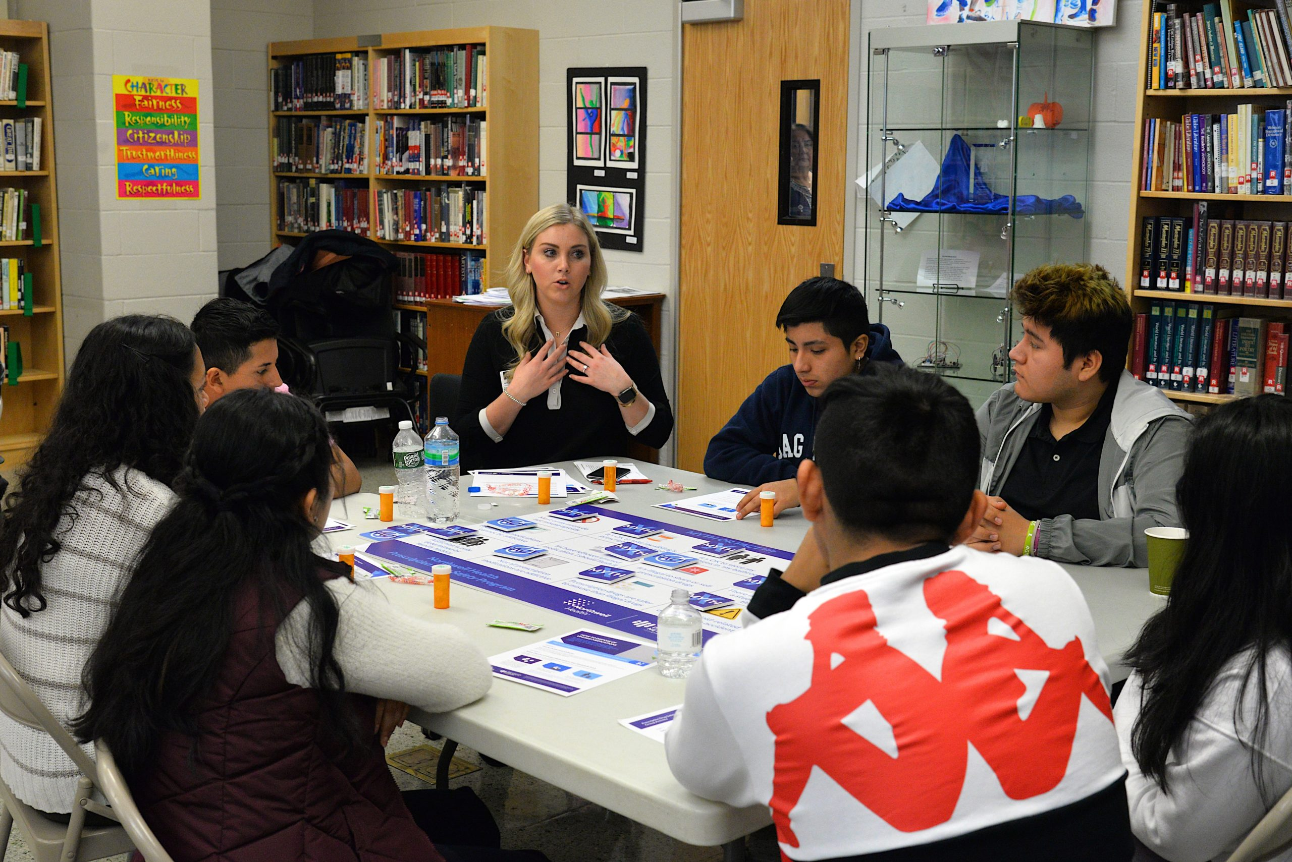 Natalie Wallace of EVERFI leads students in a game about prescription drug