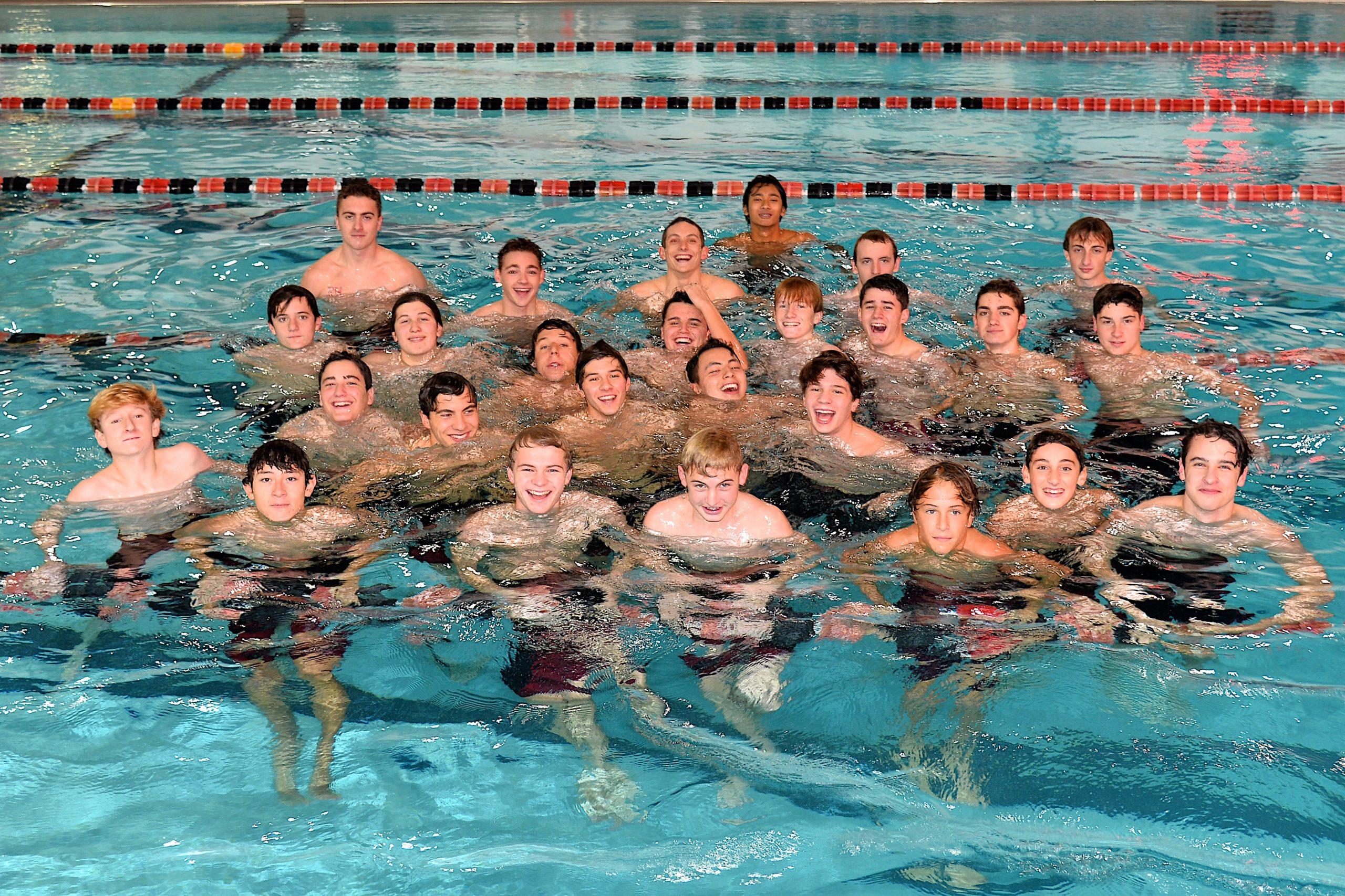 The East Hampton/Pierson/Bridgehampton boys swimming team prior to taking on Connetquot/East Islip on Thursday, December 5.