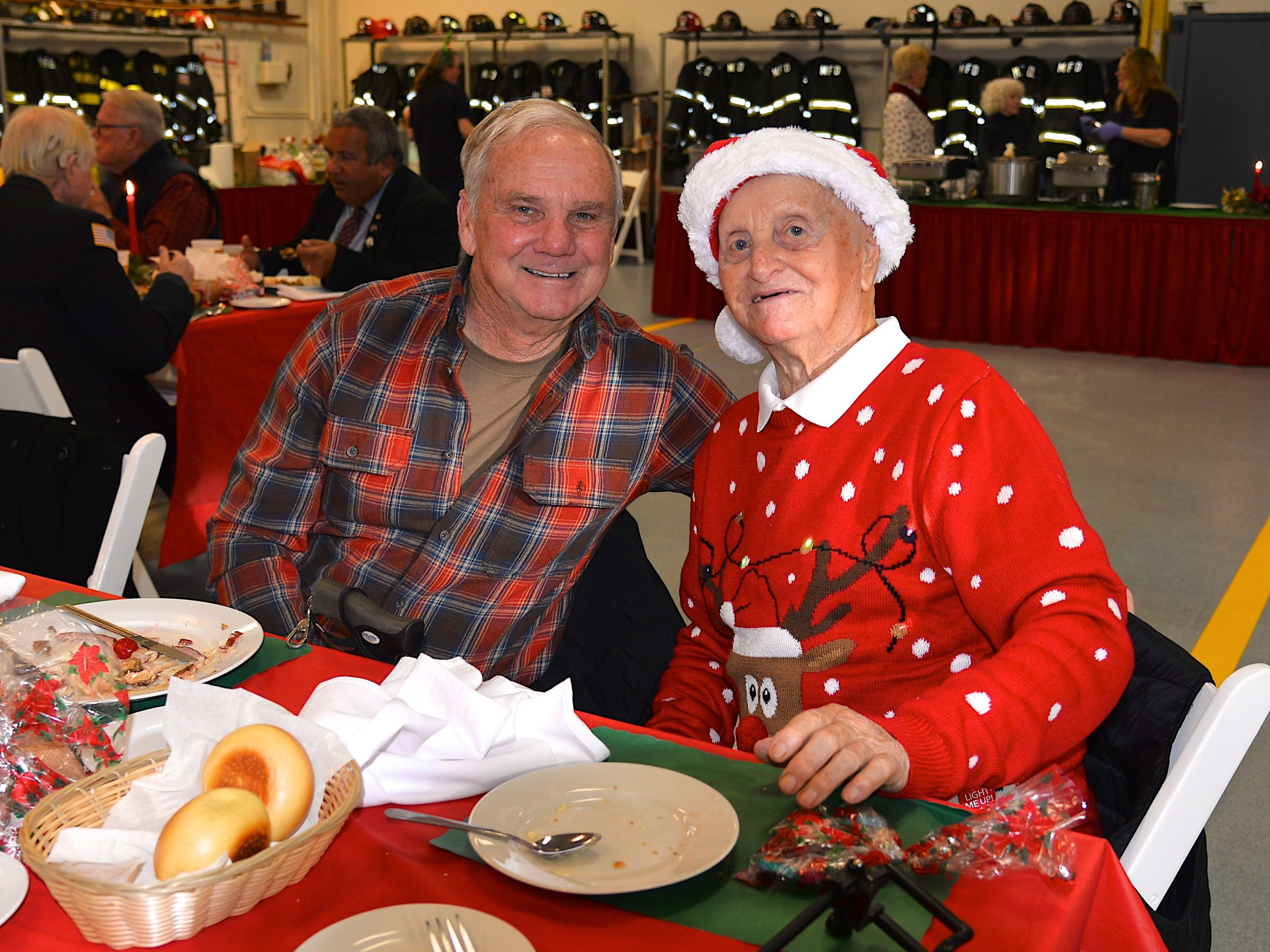 The Montauk Fire Department hosted its annual holiday dinner for senior citizens on Sunday.  Bob Dunlap and Buddy Burke were there. KYRIL BROMLEY