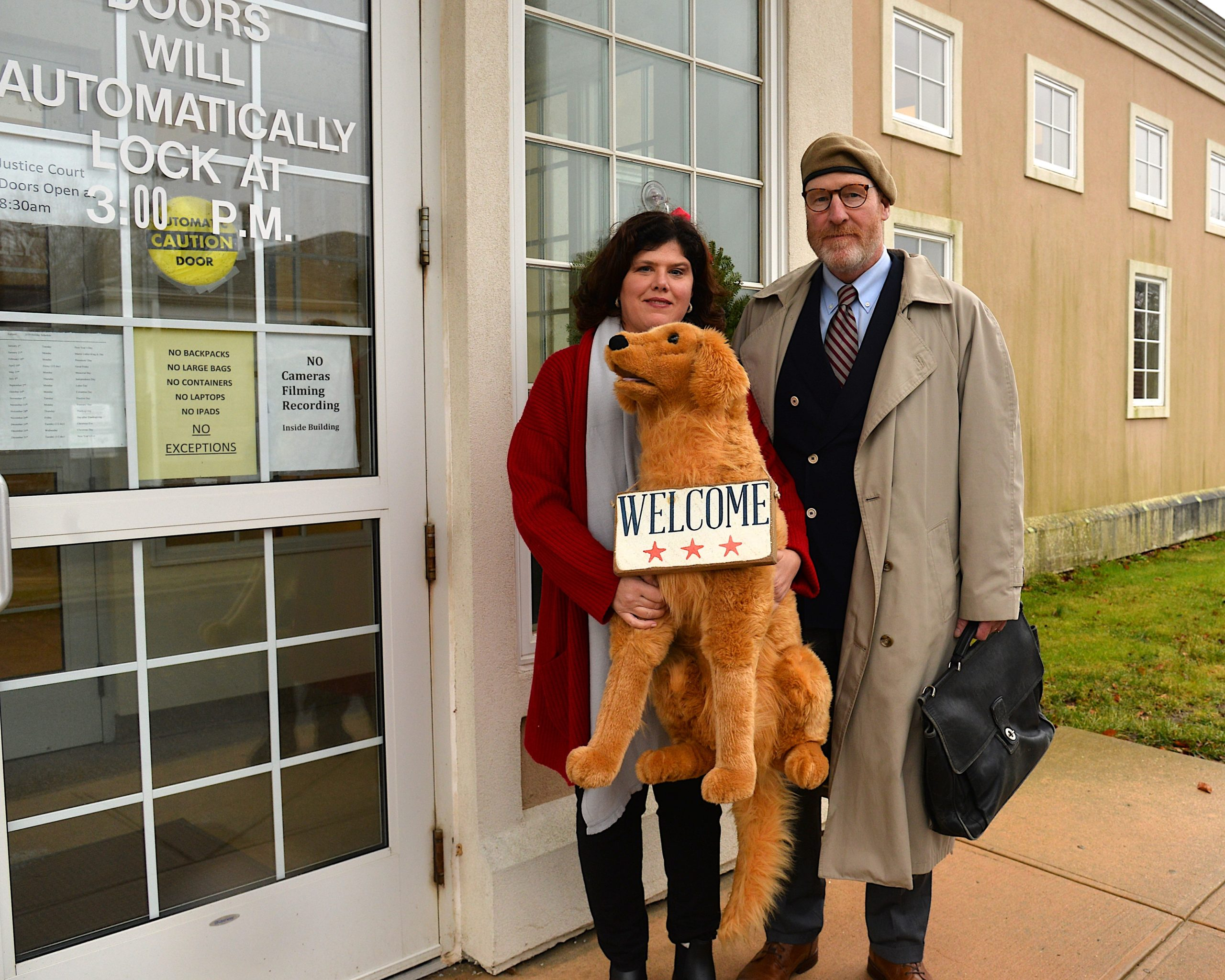 Colleen Moeller and her attorney, Dan Rodgers, at East Hampton Town Justice Court on Monday.   KYRIL BROMLEY