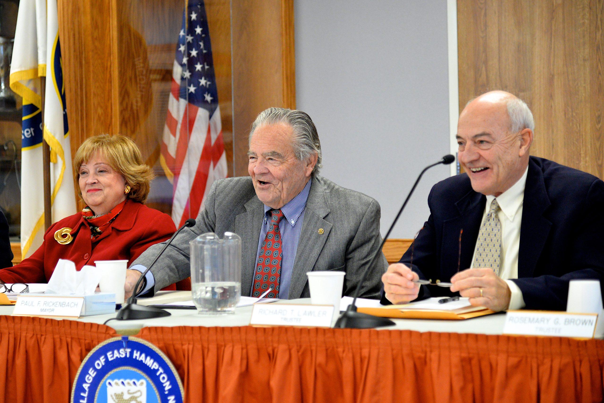 Barbara Borsack, Paul F. Rickenbach Jr. and Richard Lawler at Mayor Rickenbach's last Village Board meeting.   KYRIL BROMLEY