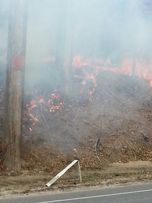 The brush fire in Eastport. ROB DePIERRO