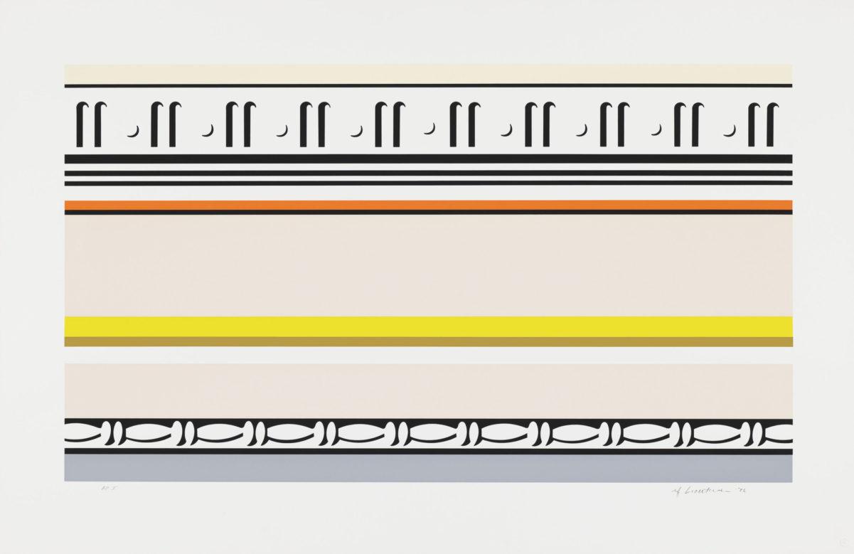 """Roy Lichtenstein, """"Entablature VIII,"""" 1976. Embossed screen print and collage, sheet 29 1/8 × 44 7/8 in. Whitney Museum of American Art, New York. The Roy Lichtenstein Study Collection, gift of the Roy Lichtenstein Foundation. © Estate of Roy Lichtenstein."""