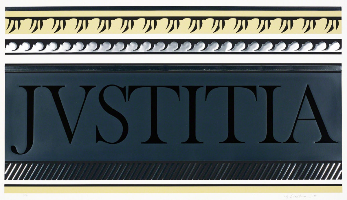 """Roy Lichtenstein, """"Entablature X,"""" 1976. Screen print and lithograph with collage and embossing, sheet 29 1/8 x 44 7/8 in. Whitney Museum of American Art, New York. The Roy Lichtenstein Study Collection, gift of the Roy Lichtenstein Foundation. © Estate of Roy Lichtenstein."""