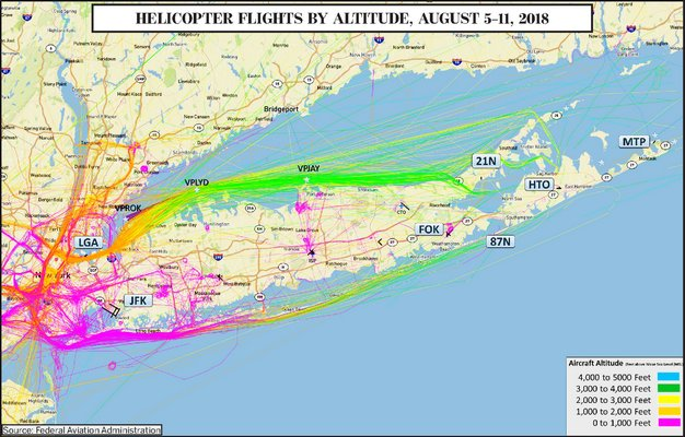 The tracks of helicopters flying between New York City and East Hampton during a single week last summer. Michael Pintauro